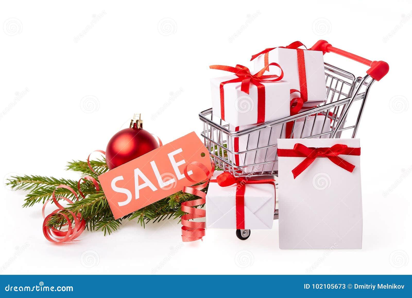 Christmas And New Year Shopping. Stock Image - Image of market ...