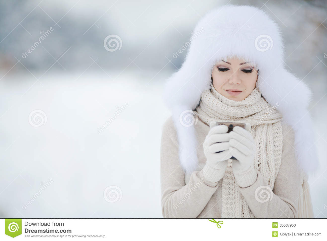Snow Plow Prices >> Christmas New Year Snow Winter Beautiful Girl In White Hat Nature Stock Photo - Image: 35537950