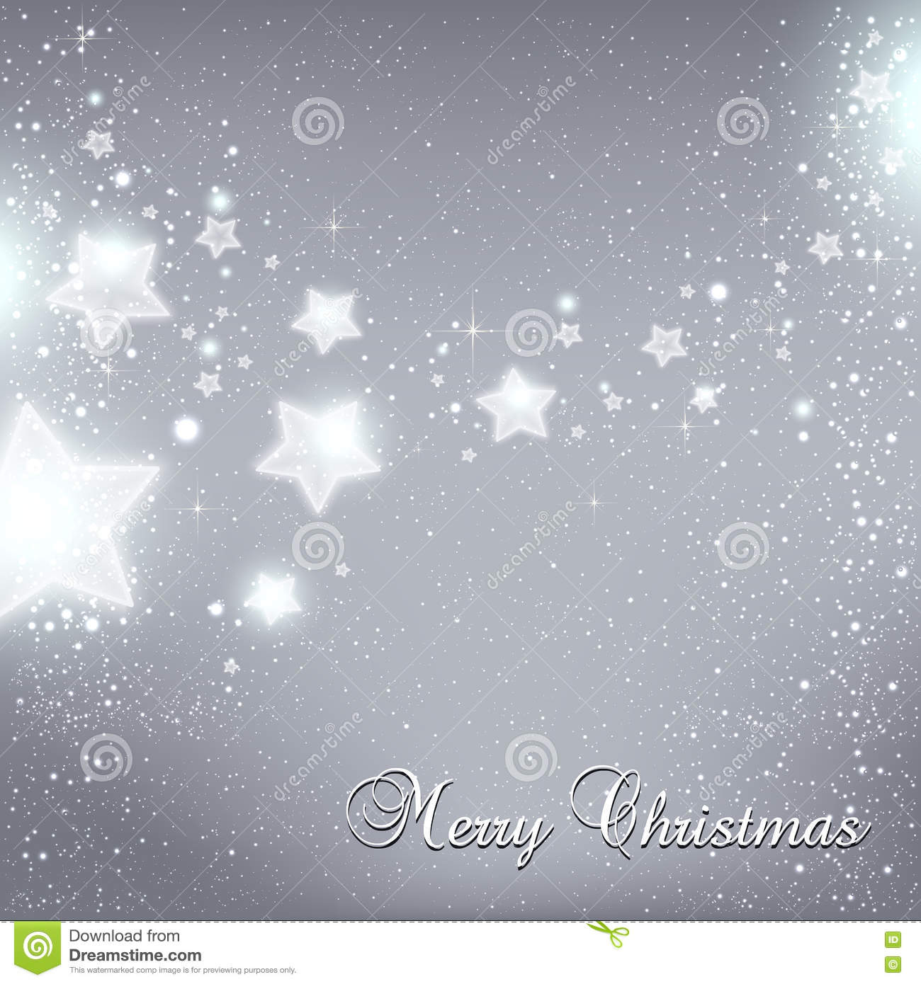 christmas and new year star for celebration on grey background with light dots snowflakes