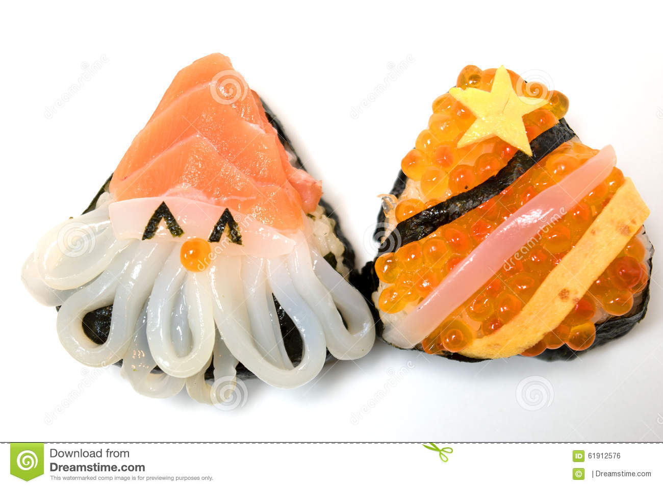 Christmas And New Year Sushi Japanese Food Stock Photo - Image ...
