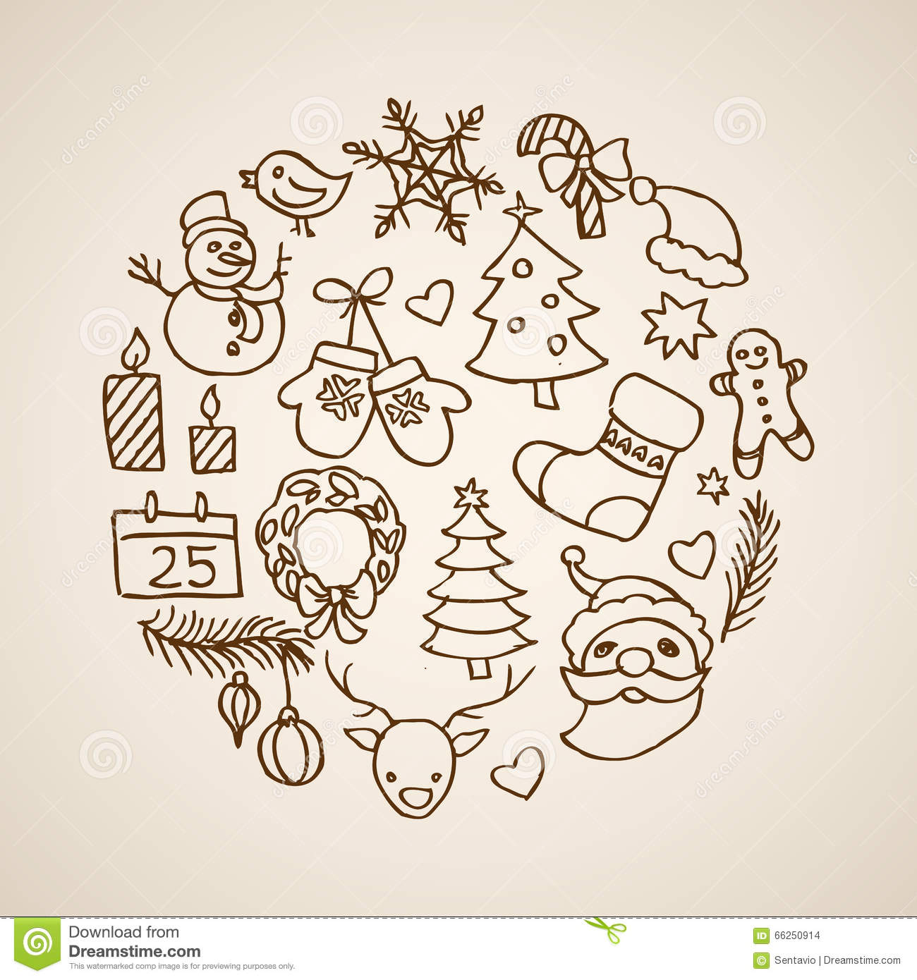 christmas new year template drawing vintage lineart retro vector