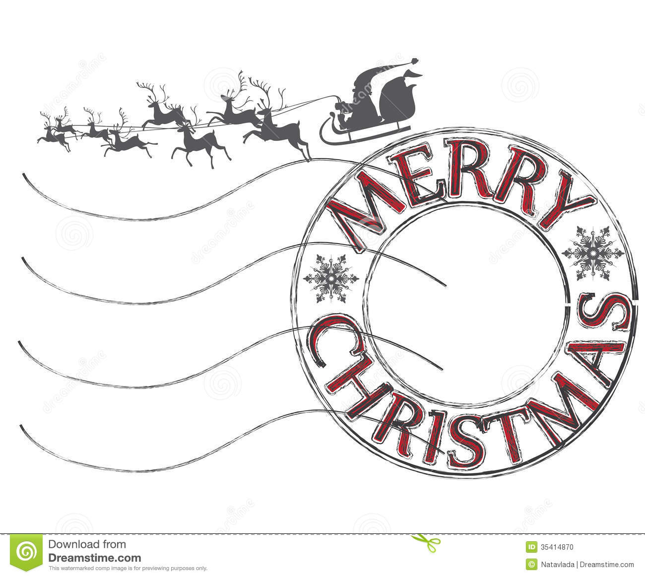 Post letter stamp with Merry Christmas good wishes and Santa Claus ...