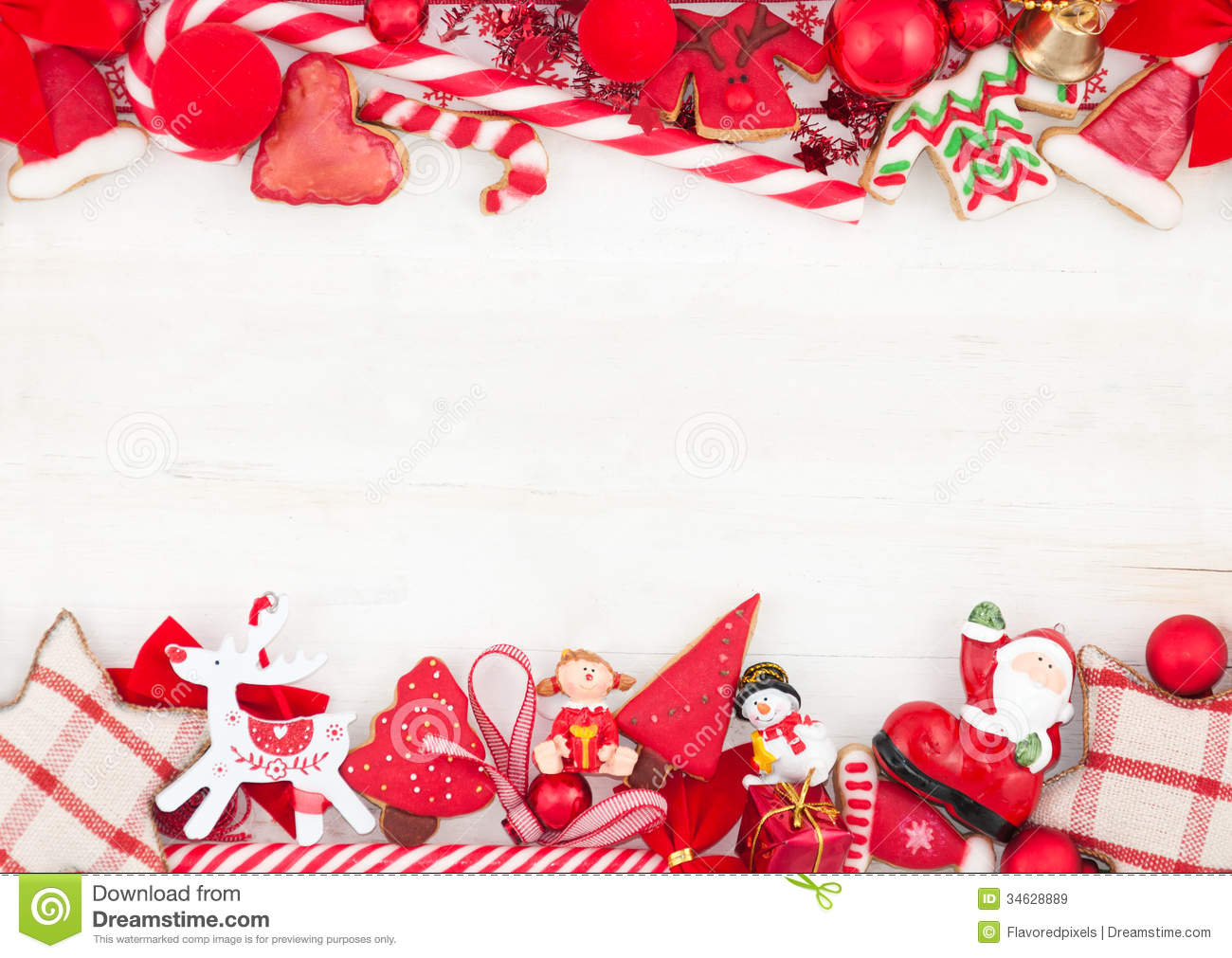 Christmas Or New Year Themed Card With Decorations Stock Image ...