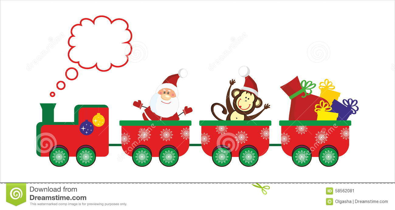 Christmas And New Year Train Stock Vector - Image: 58562081
