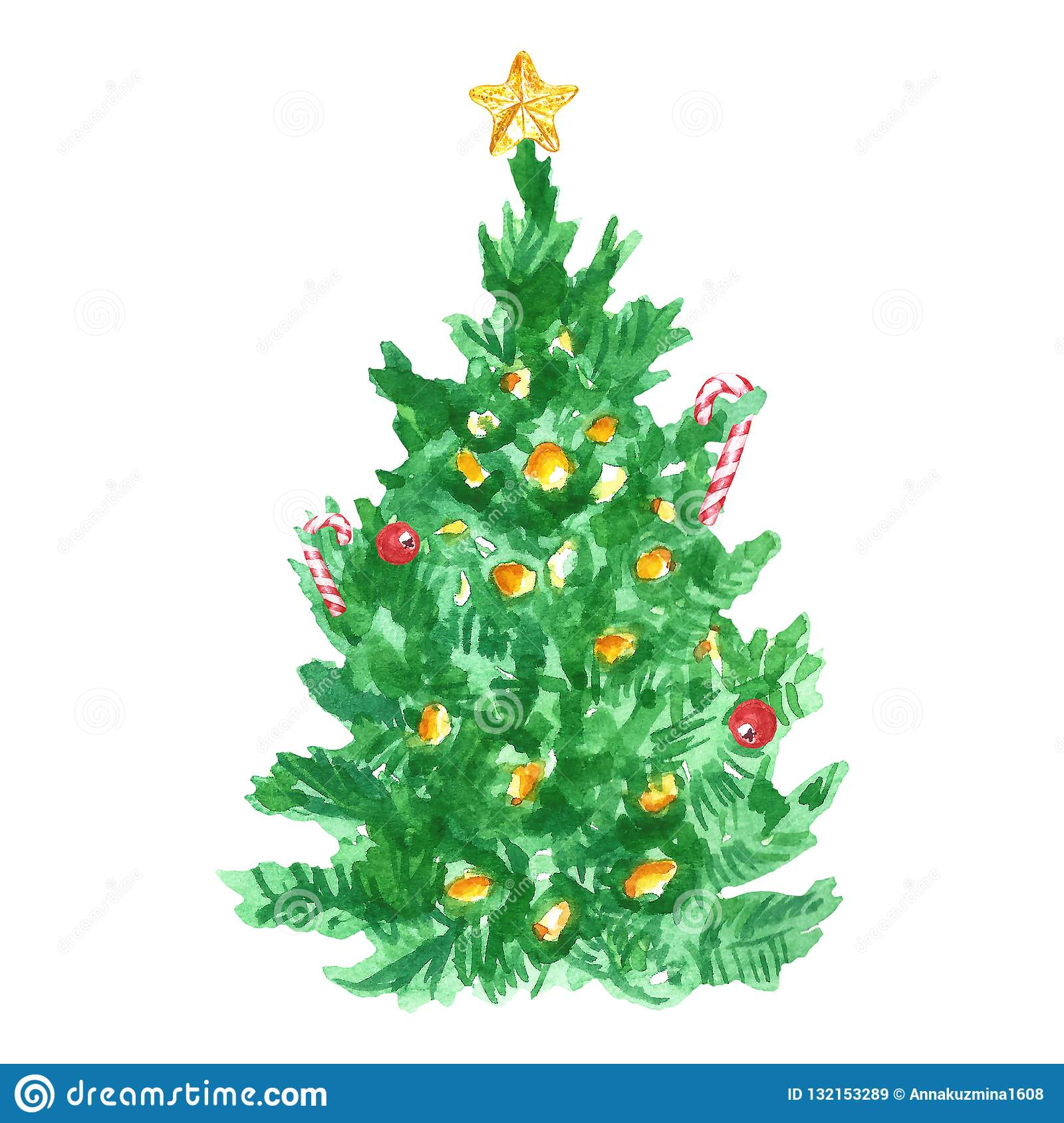 Christmas And New Year Tree With Christmas Tree Topper Star And