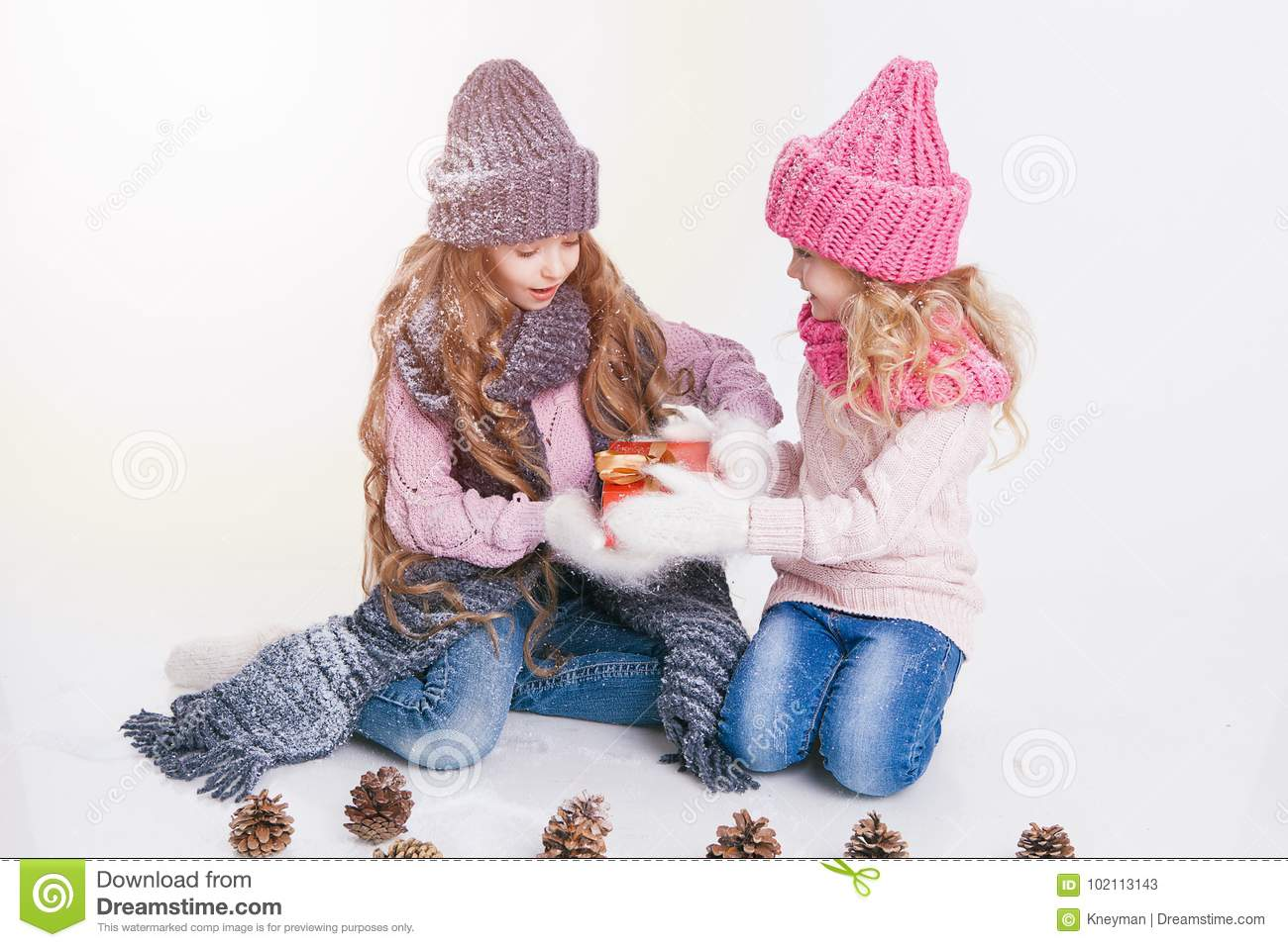 Christmas. New Year. Two little sisters holding present in winter clothes. Pink and grey hats and scarfs. Family. Winter