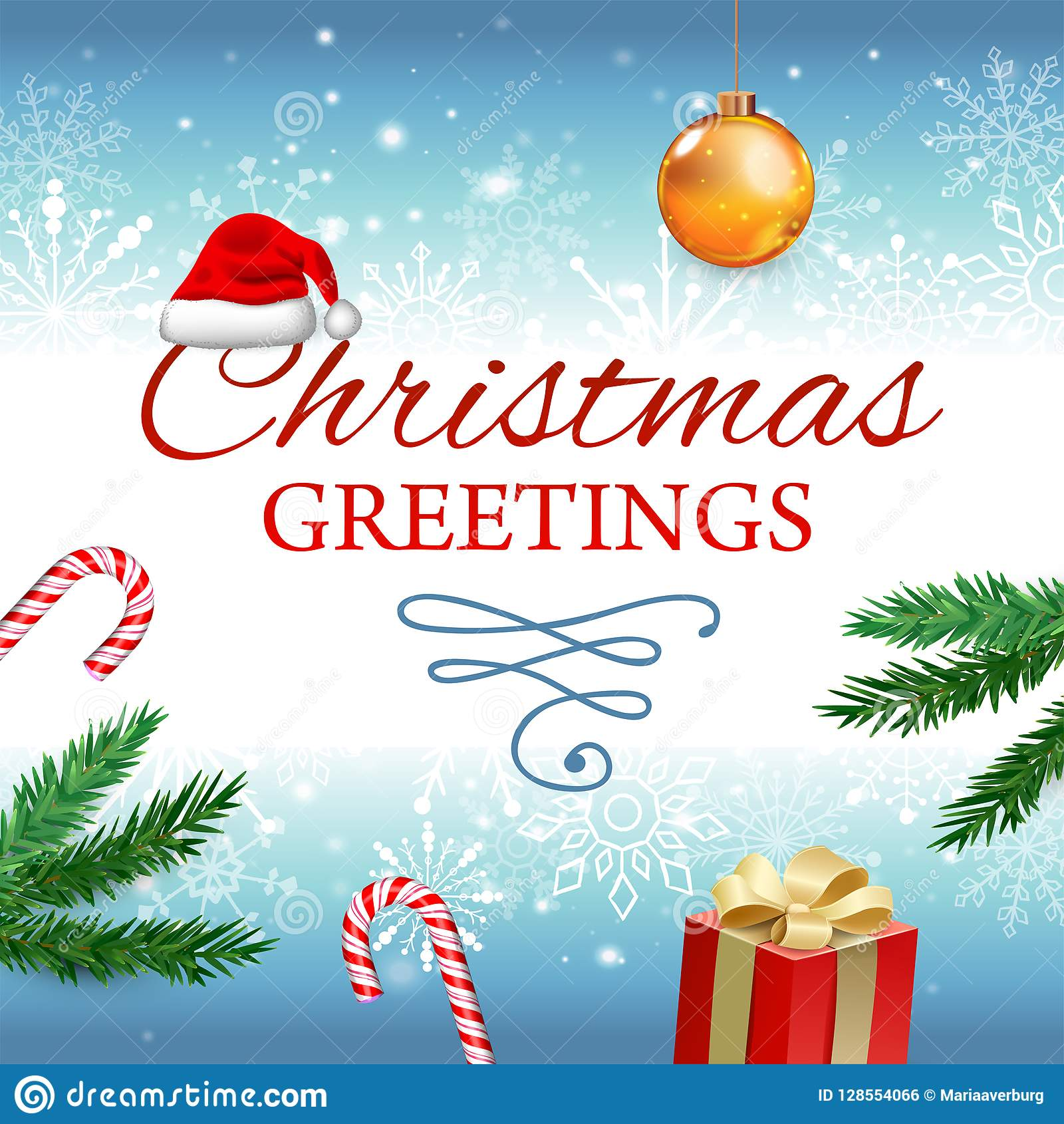 Christmas And New Year Vector Greeting Card With Christmas Tree
