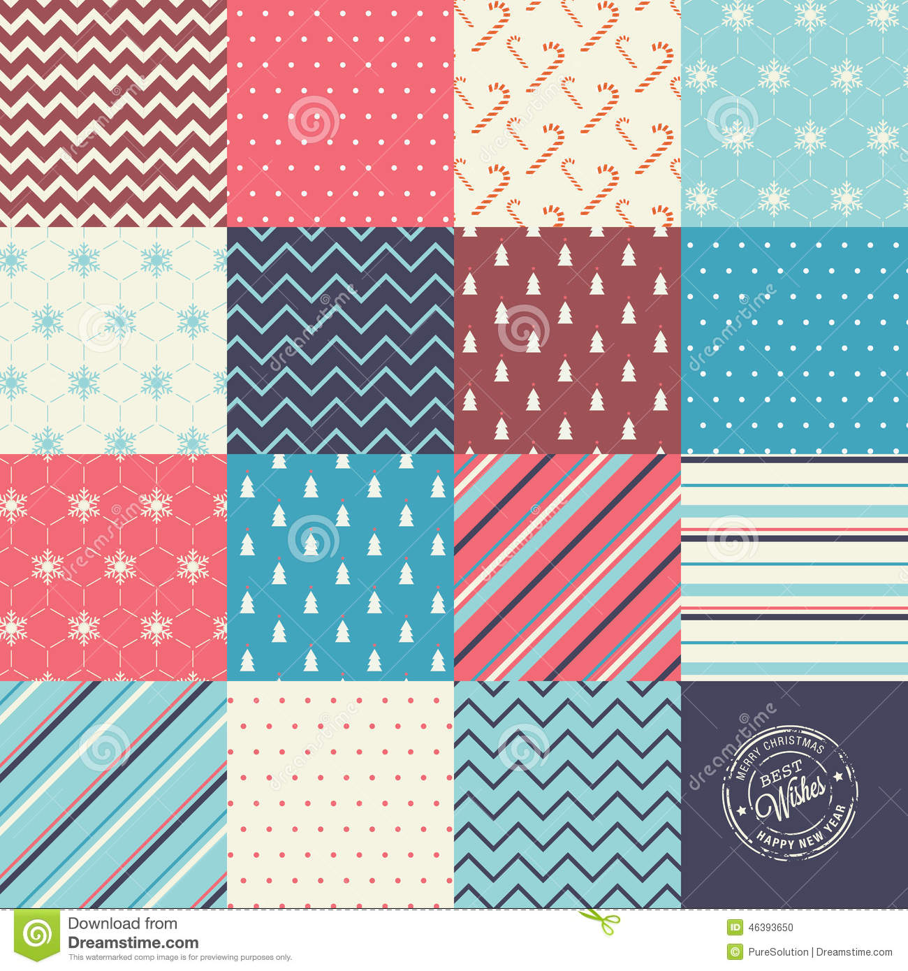 Scrapbook paper designs to print - Christmas And New Year Vector Seamless Patterns