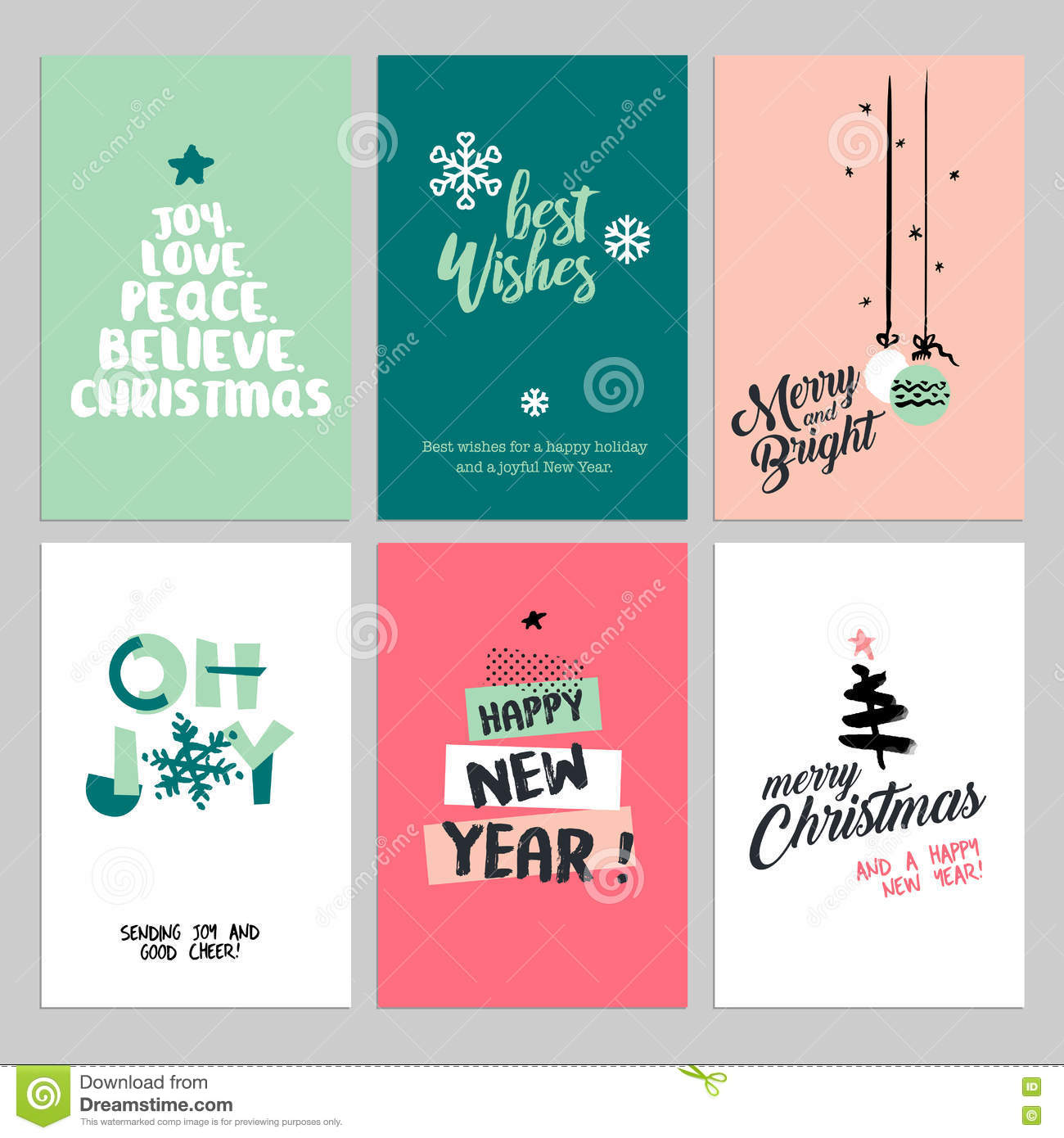 Christmas And New Year Vintage Greeting Cards Set Stock Vector ...