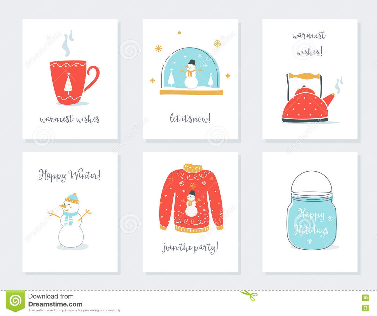 christmas new year and winter holidays cards with vintage sentimental objects tea mug
