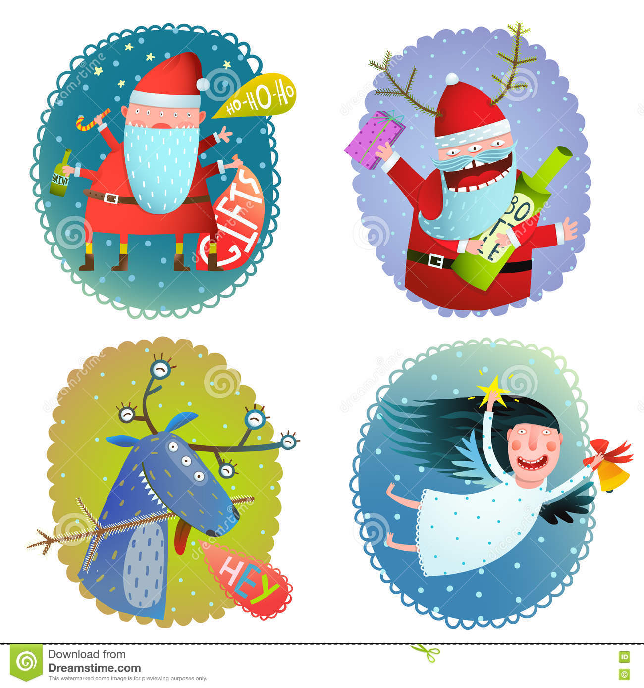 Christmas or new year winter holidays greeting cards collection with christmas or new year holidays crazy cartoon funny greeting card designs vector illustration m4hsunfo