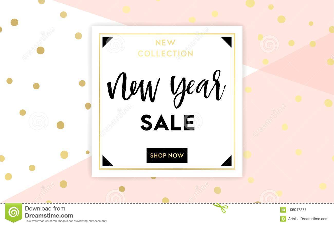 christmas new year winter poster vector illustration sale banner background flyer invitation card template design in black white and gold colors