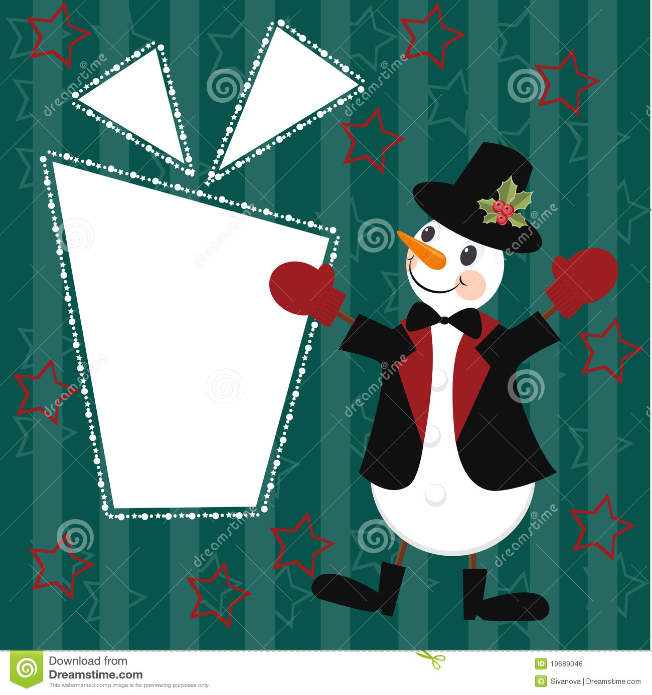 Christmas and New Years card with snowman