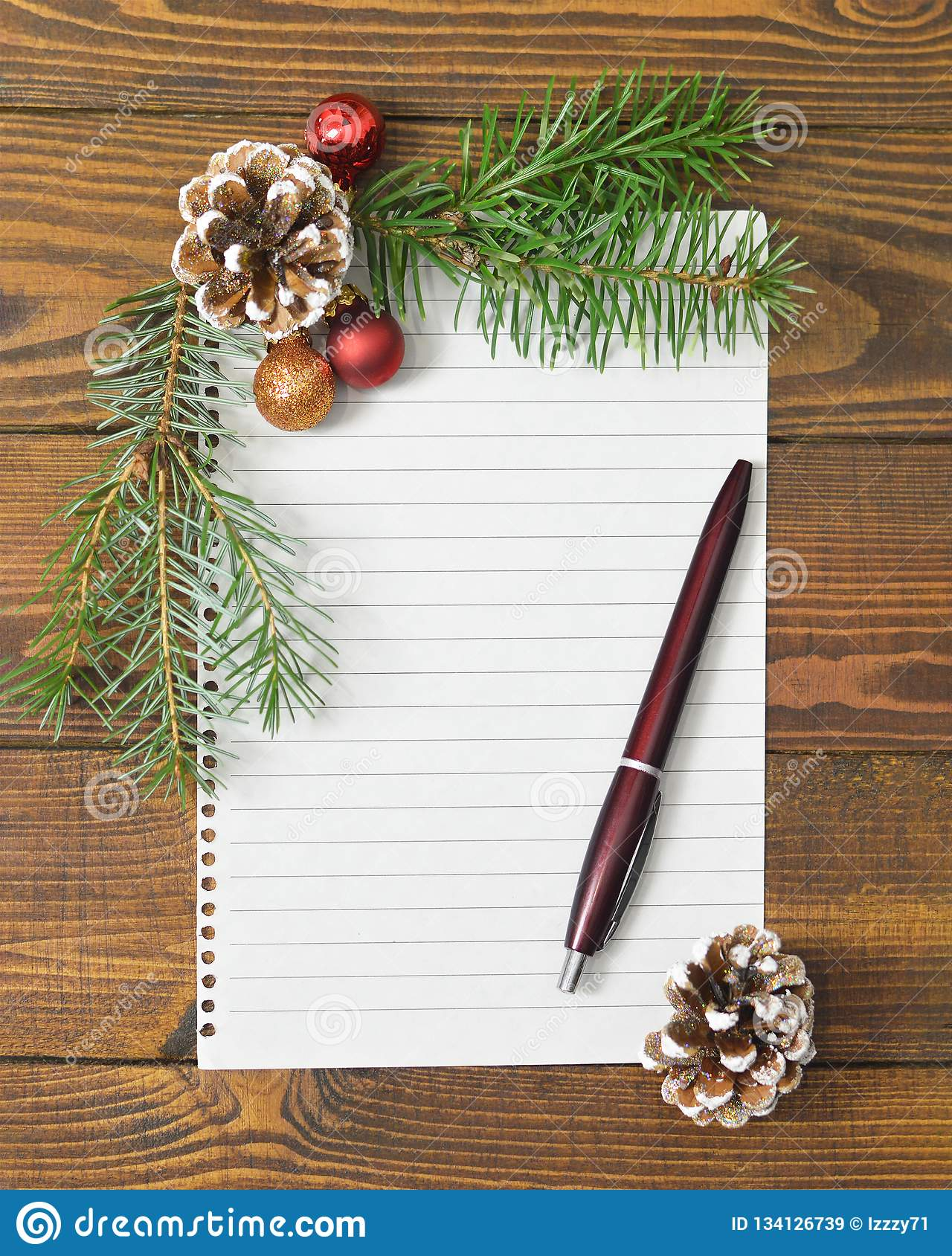 Christmas Or New Years Mock Up. Blank Paper And Christmas ...