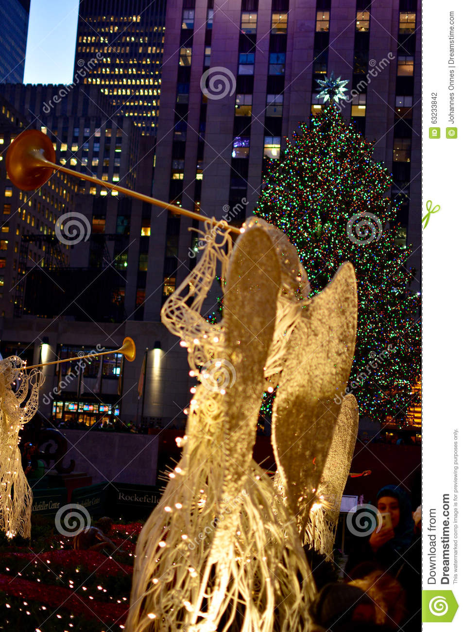 Christmas in new york rockefeller center angels editorial photography image 63233842 for Angel of the north christmas decoration