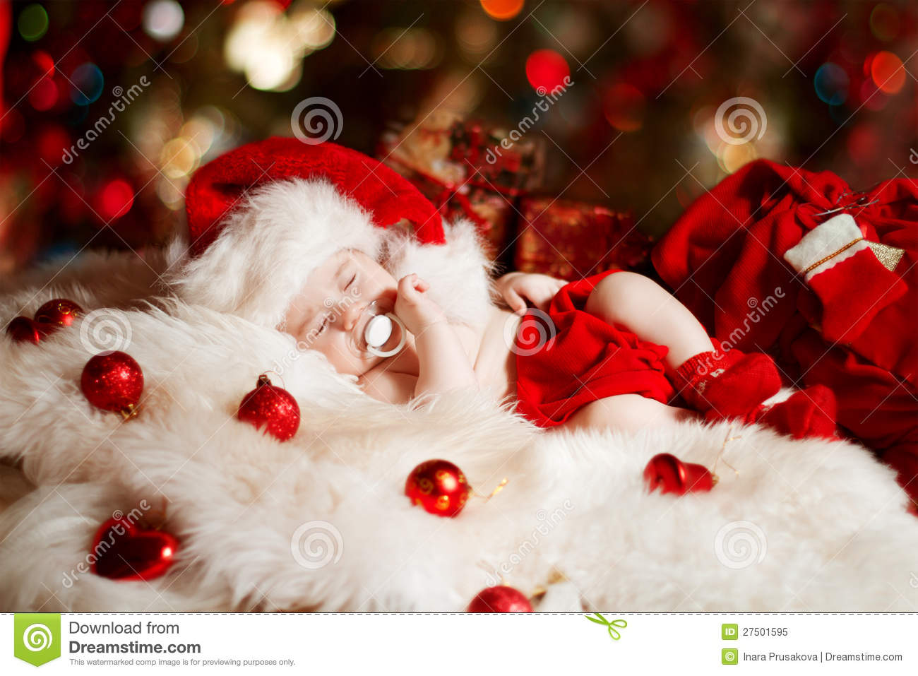 Christmas Newborn Baby Sleeping In Santa Hat Royalty Free Stock ...