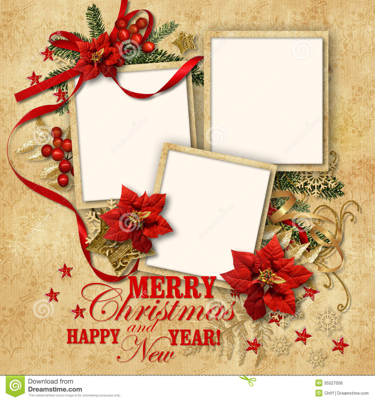 christmas nice vintage background with frame for family illustration