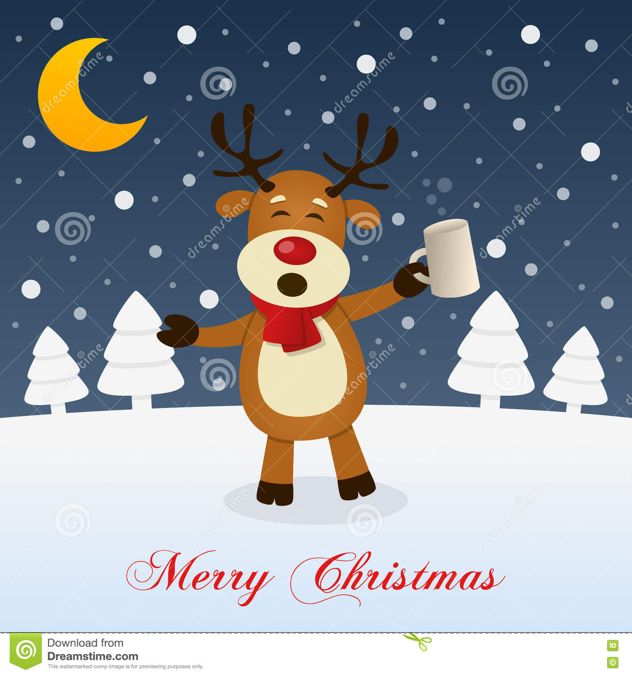 Christmas Night With Drunk Funny Reindeer Stock Vector