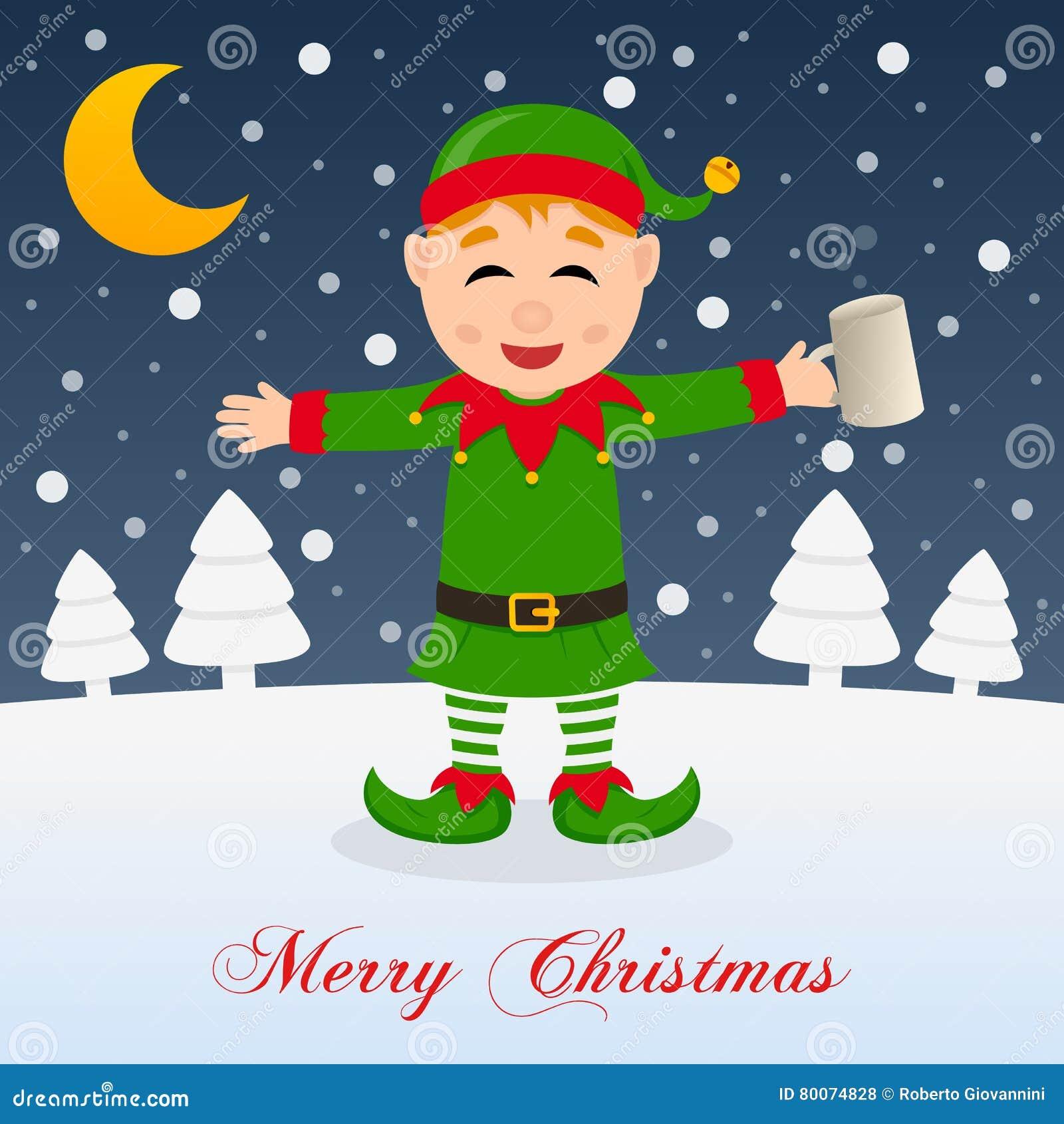 Christmas Night With Drunk Happy Green Elf Stock Vector