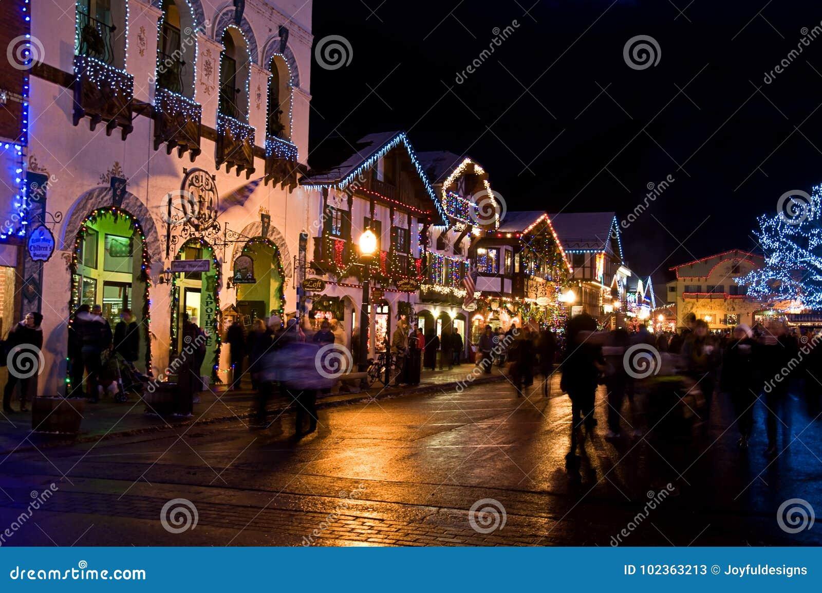 Leavenworth Washington Christmas.Christmas Night Leavenworth Bavarian Village Editorial Stock