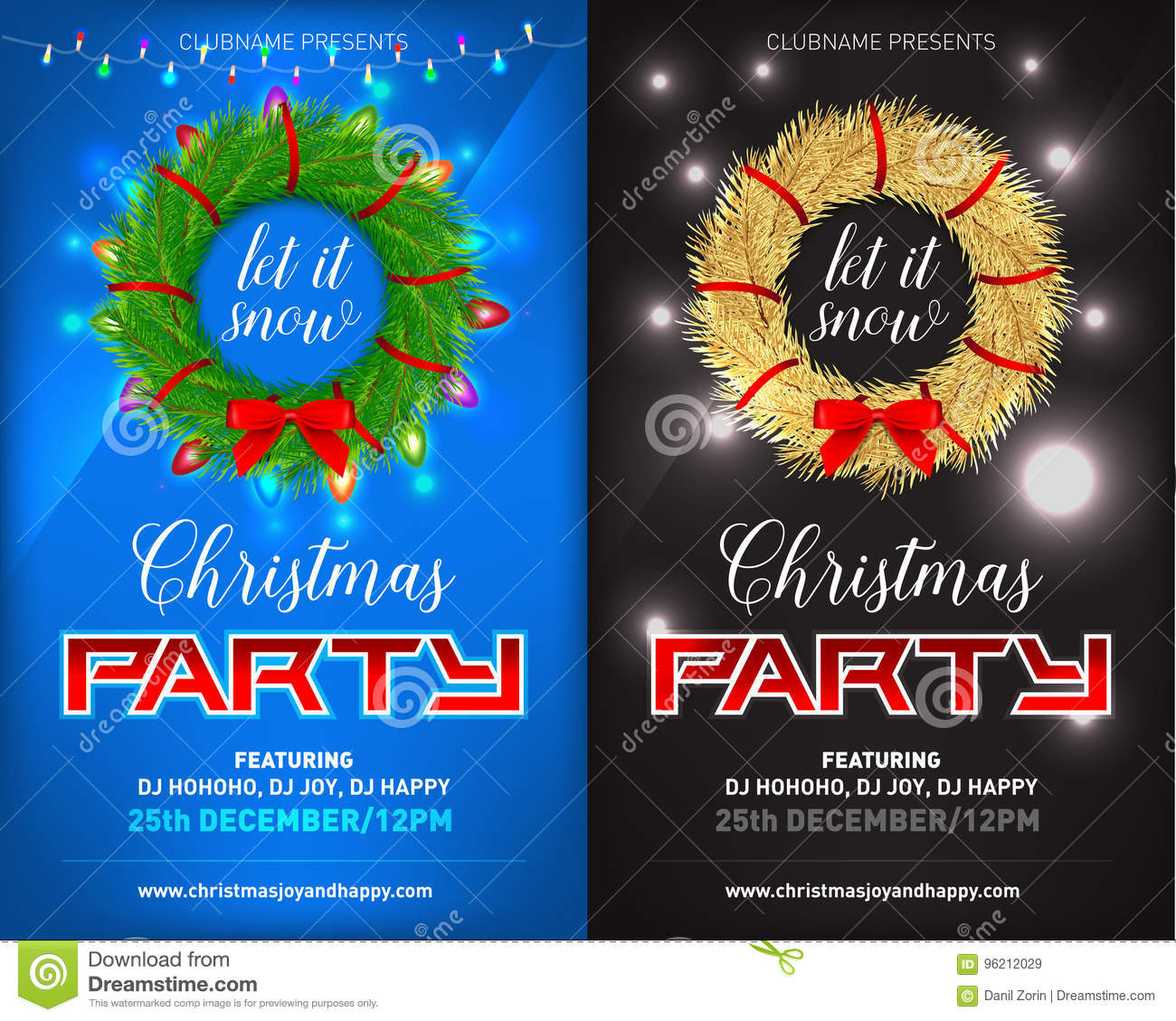 christmas night party poster invitation card flyer set vector illustration