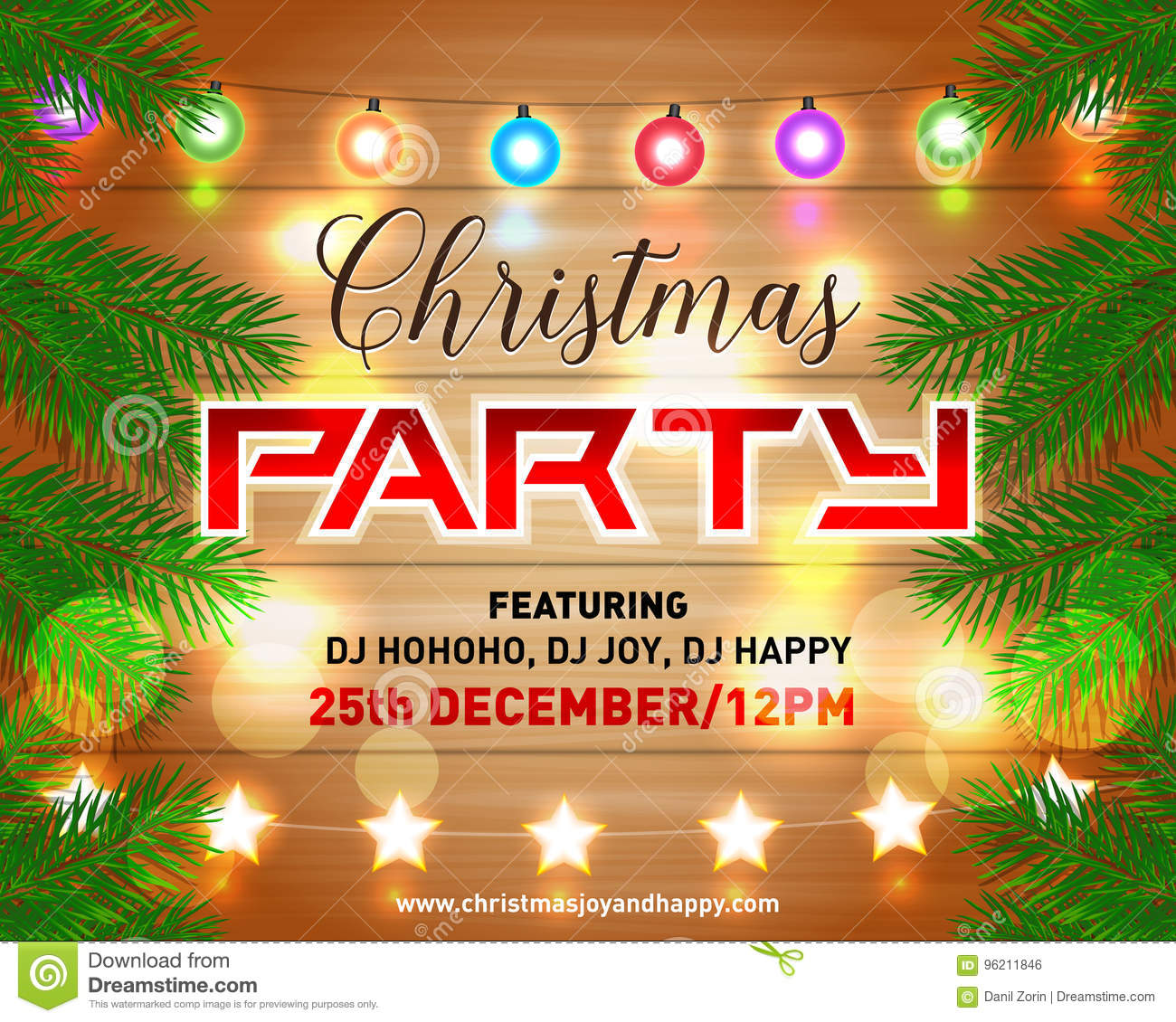 Christmas Night Party Poster Invitation Card Flyer Vector