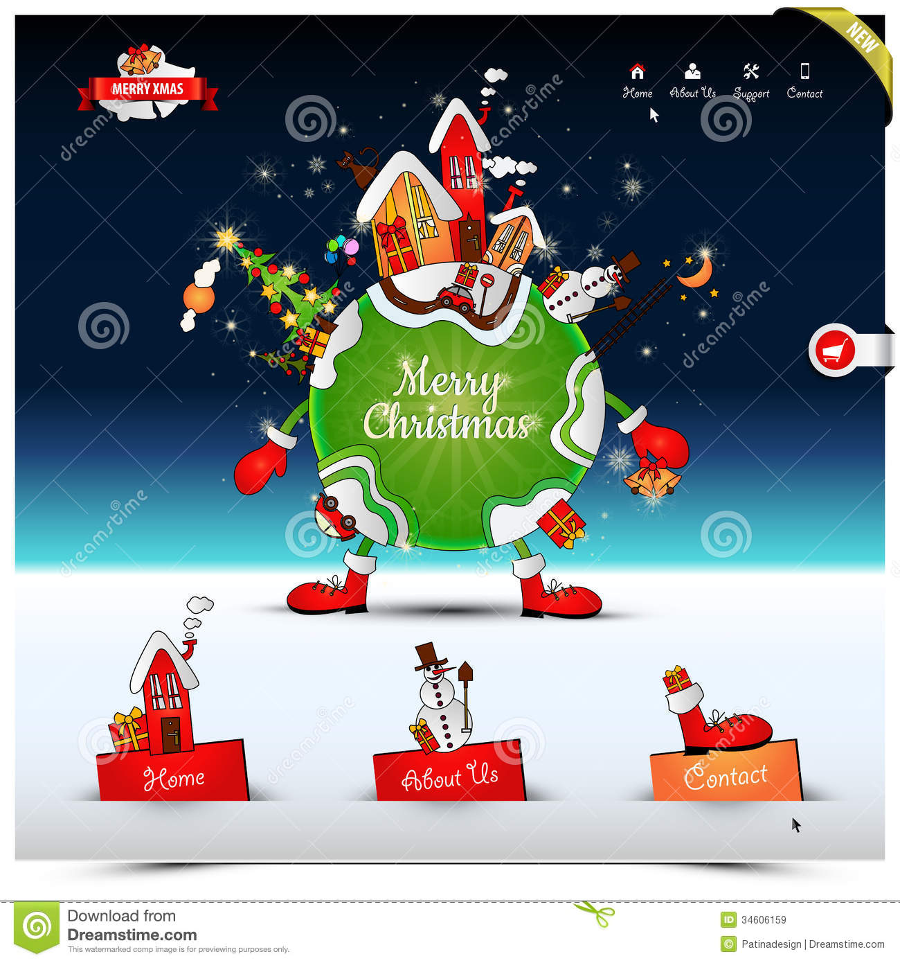 Christmas Night Website Template Royalty Free Stock Images
