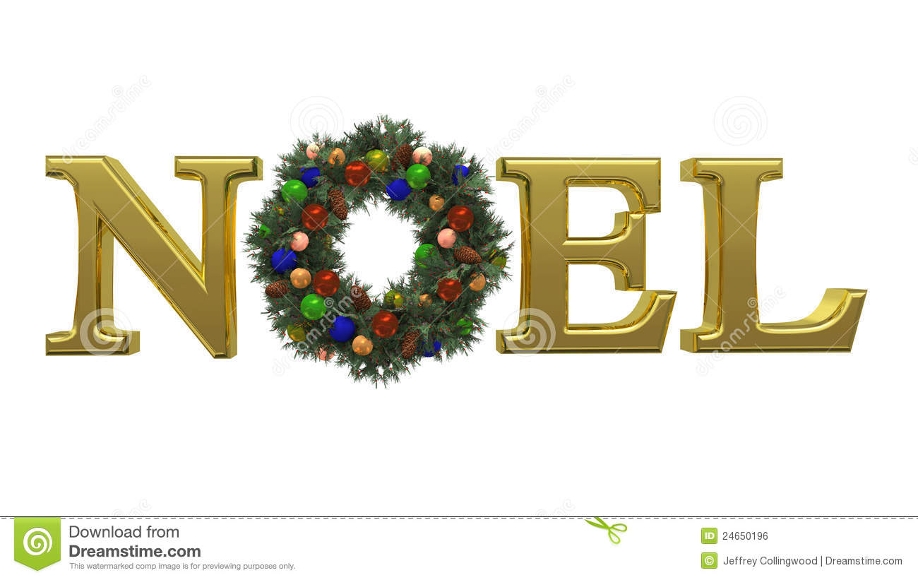 Christmas NOEL Wreath 1 stock illustration. Illustration of brown ...