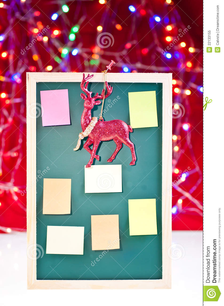 Christmas Decoration For Board : Christmas notice board with reindeer decoration royalty