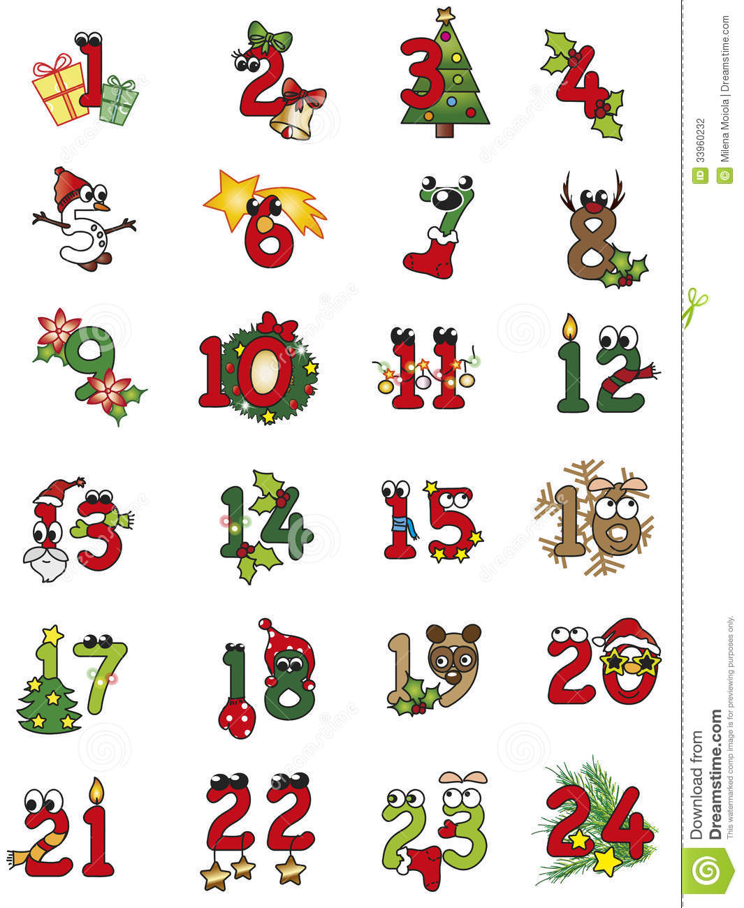 Calendar Numbers Clipart : Christmas numbers stock illustration of