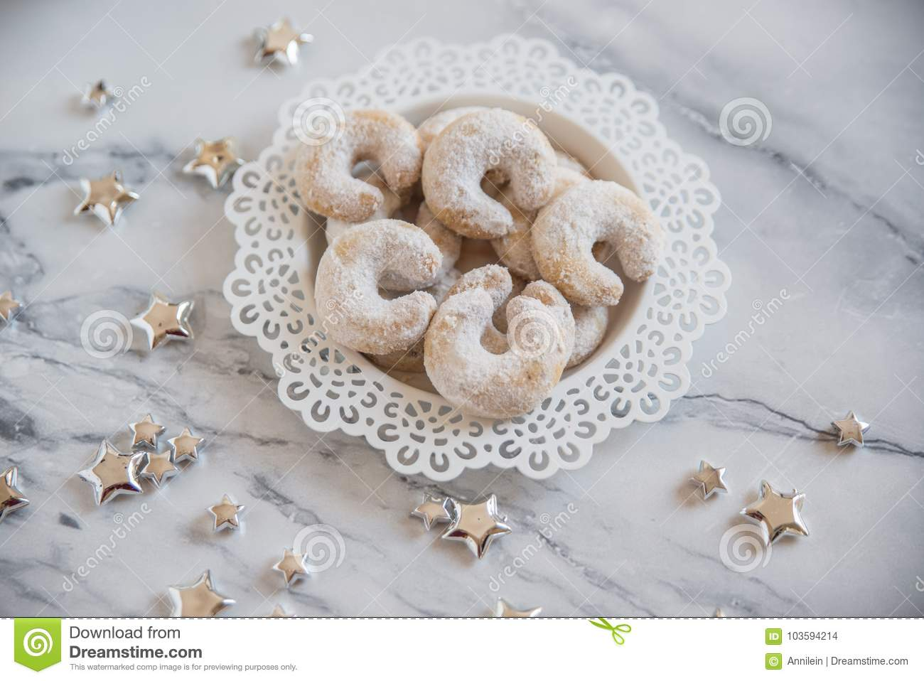 Christmas Nut Crescent Vanilla Cookies Stock Photo Image Of Glow