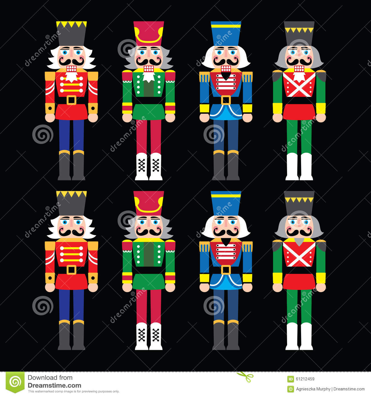 Christmas Nutcracker Soldier Figurine Icons Set On Black