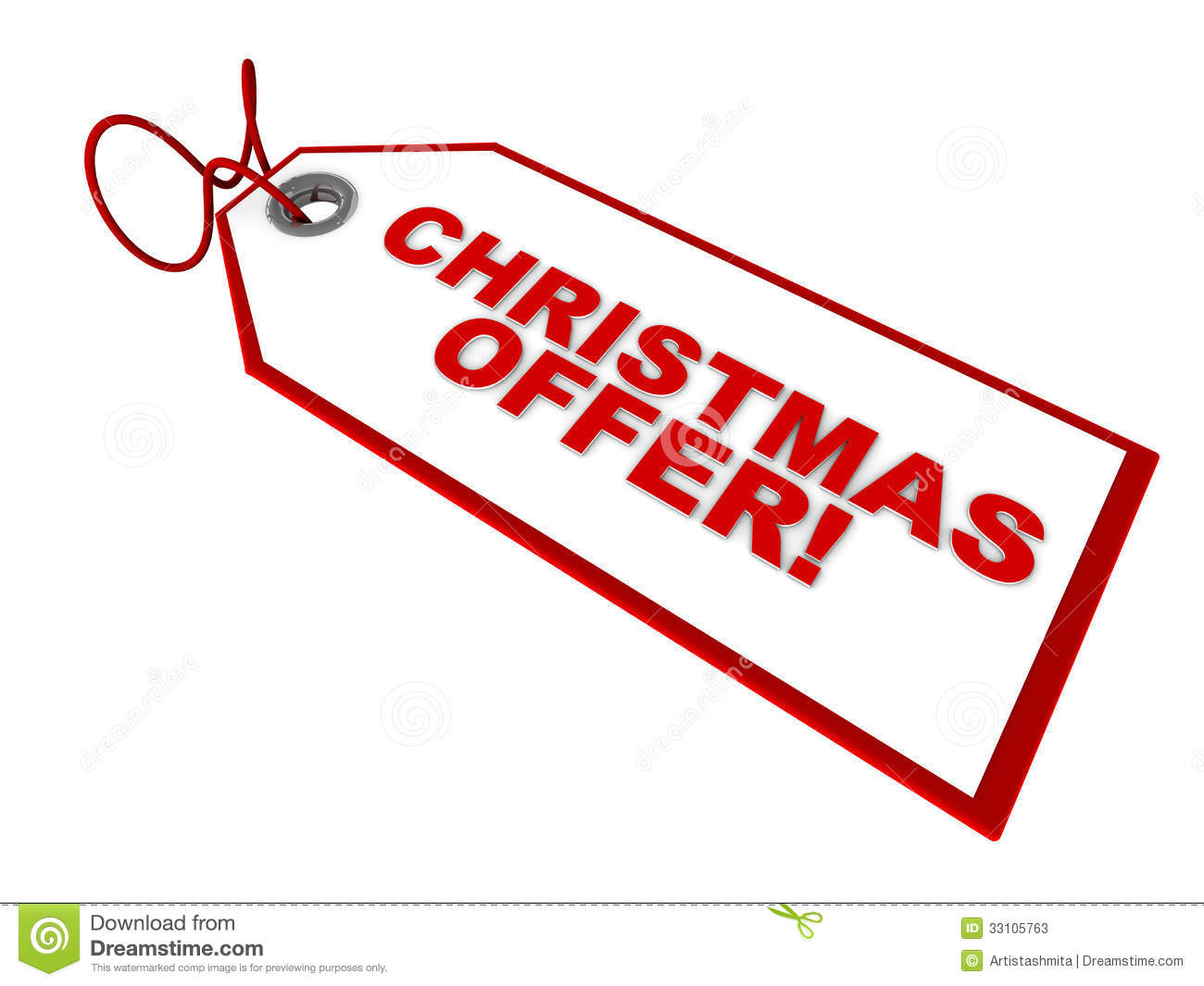 Price tag with Christmas offer text, white background, concept of ...