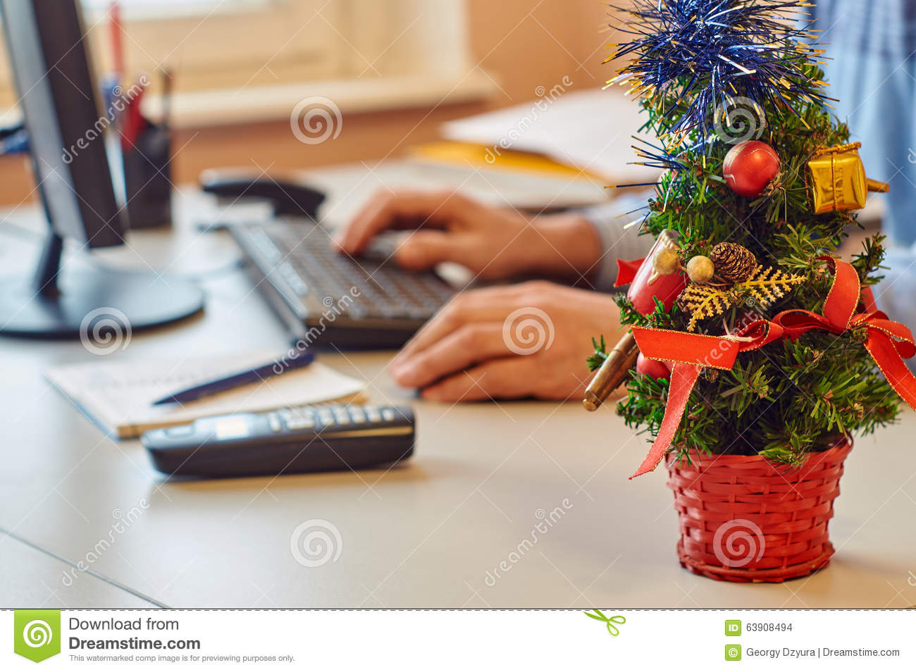 Christmas Office Decoration Stock Photo Image Of Winter Year 63908494