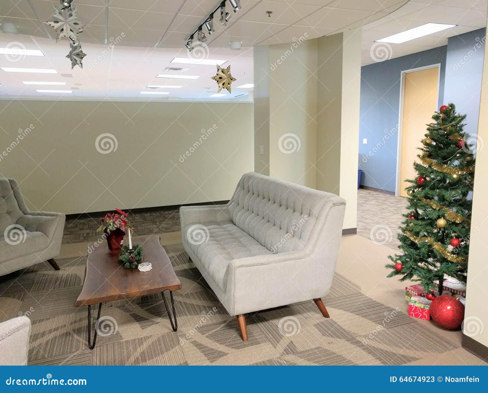 Christmas Office Decorations Stock Image - Image of season, sofa ...