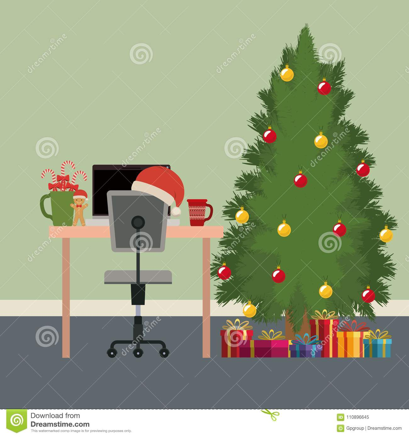 christmas office workplace scene with desktop computer and big christmas tree and gifts - Big Christmas Gifts