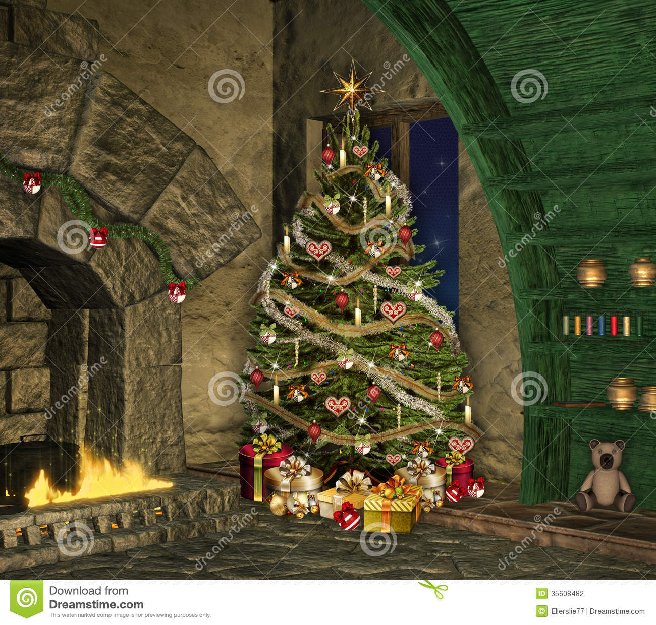christmas in an old cottage stock illustration