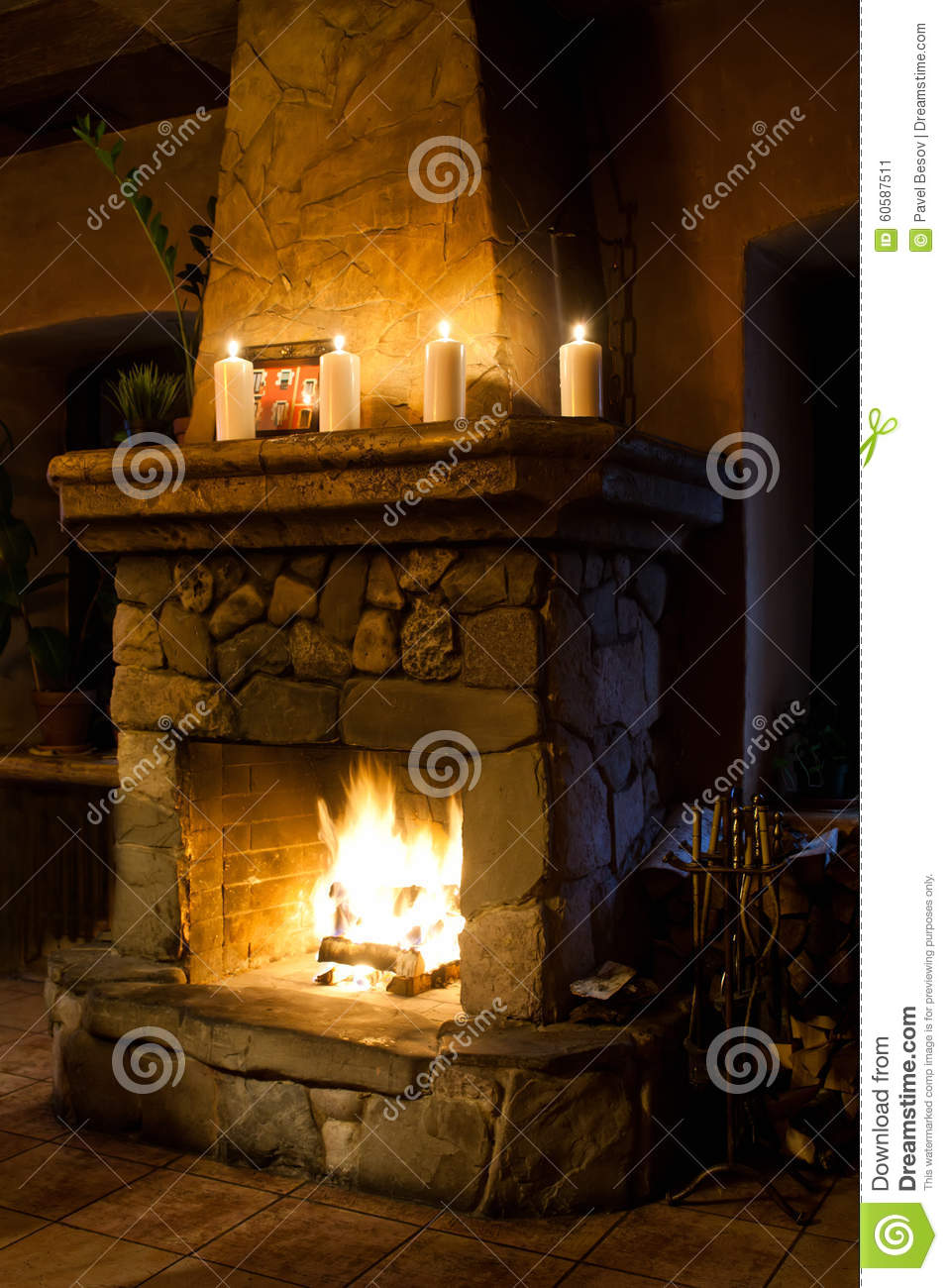 Christmas old fashioned romantic interior fireplace room Interior chimney