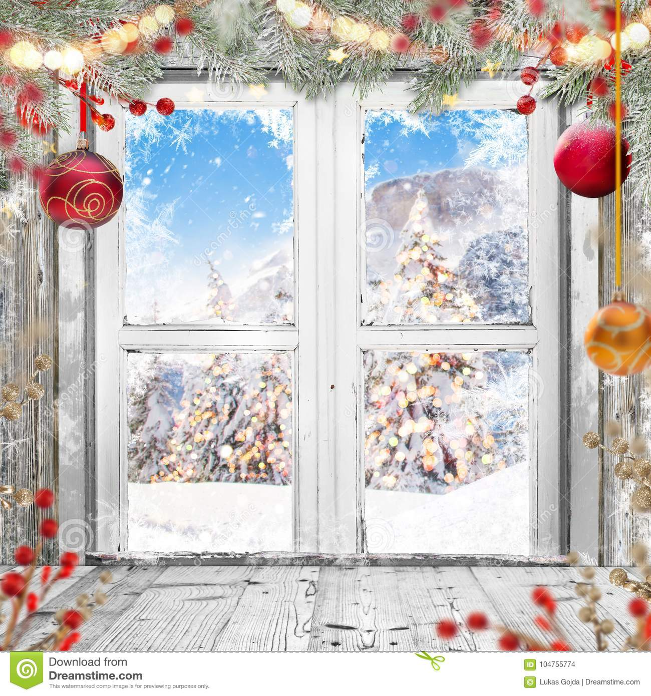 Old House Christmas Decorations: Christmas Old White Window With Decorations. Stock Photo