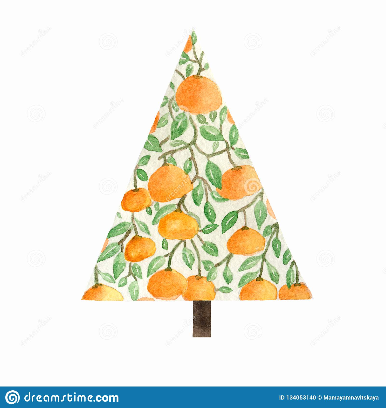 Christmas orange tree with oranges. Sketch for greeting card, festive poster, party invitations,textile, fabric, wrapping, menu.