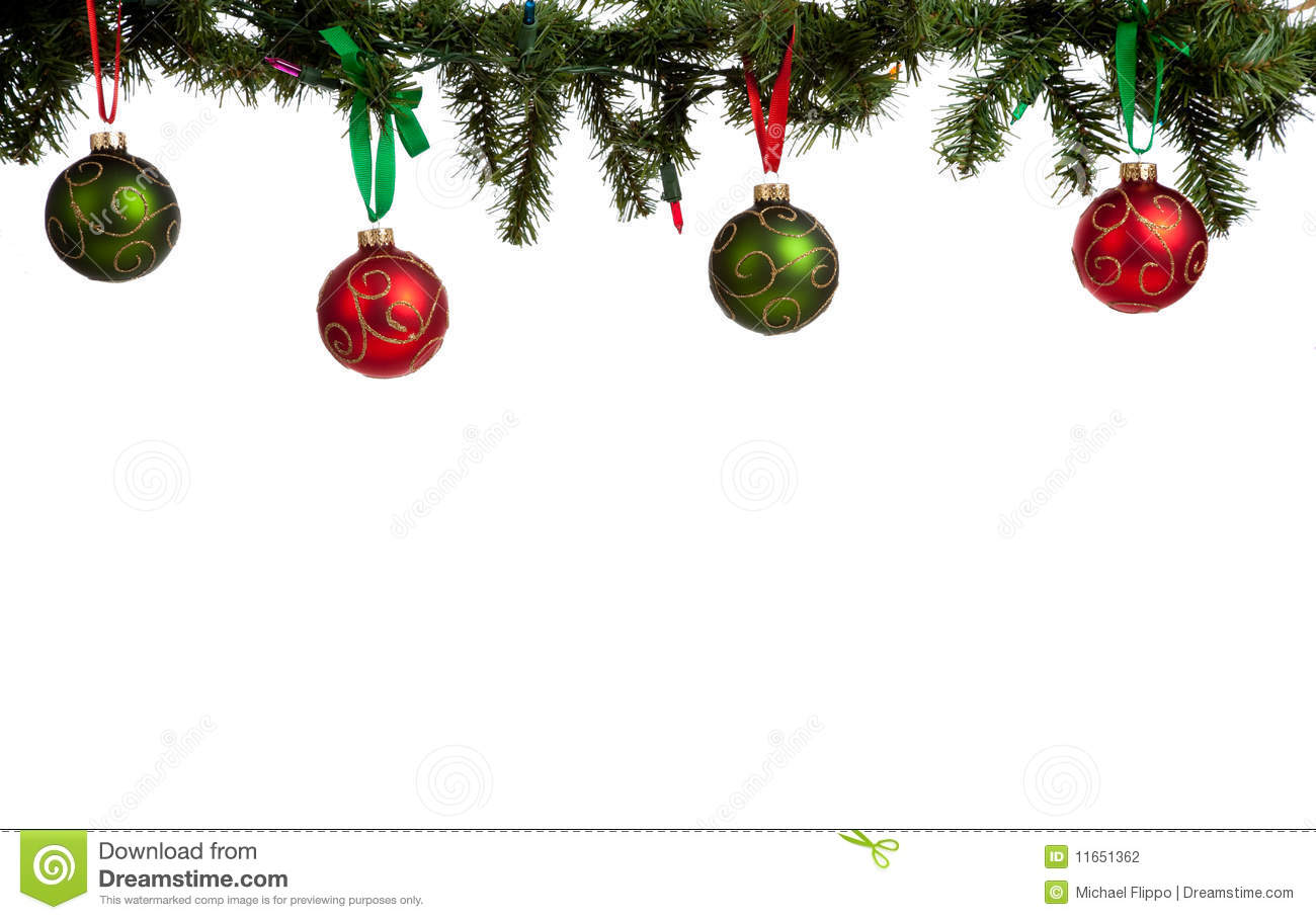 Christmas Ornament Baubles Hanging From Garland Stock Photo Image
