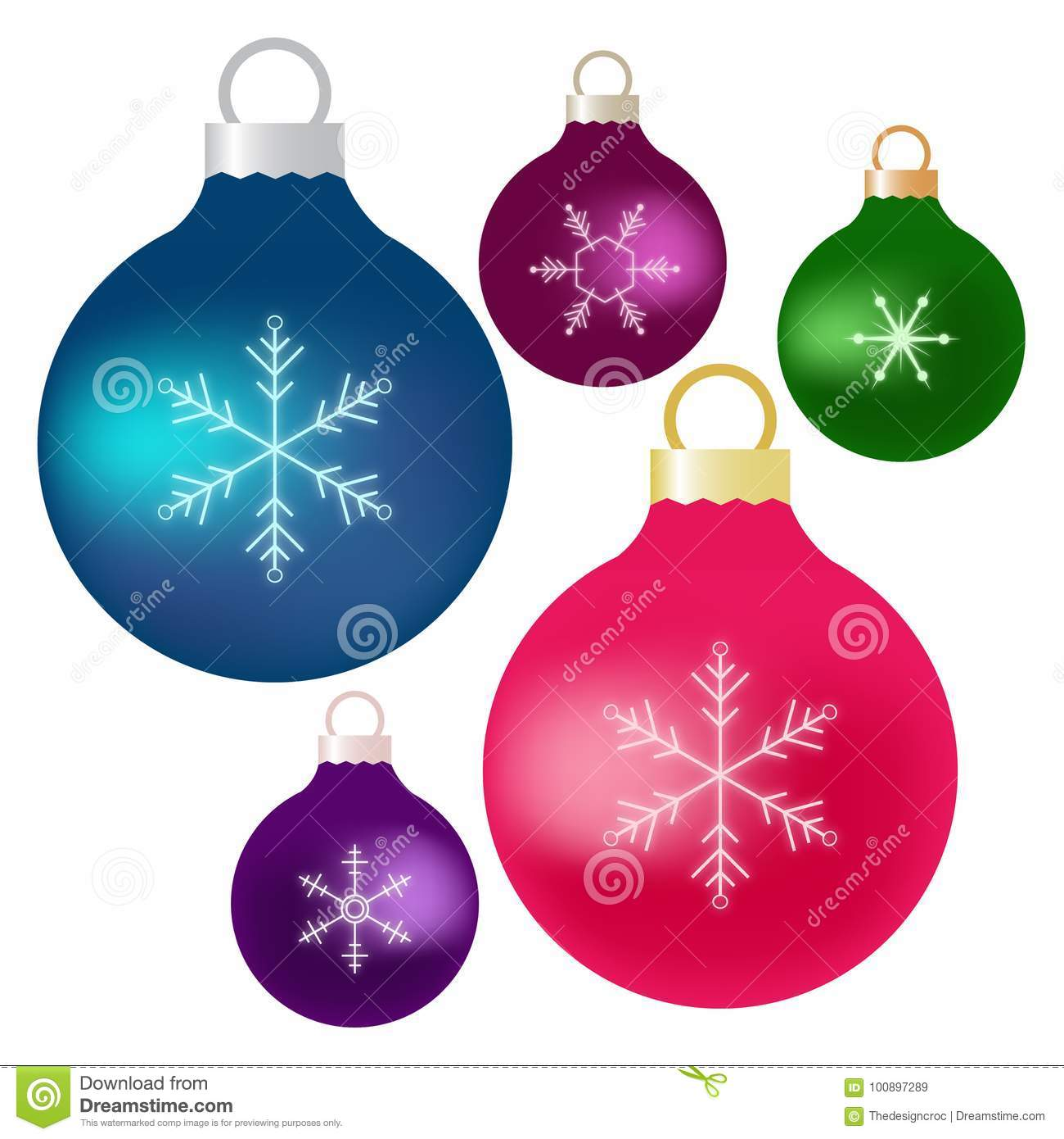 Christmas Ornament Blue Pink Green Purple Colors Stock Vector