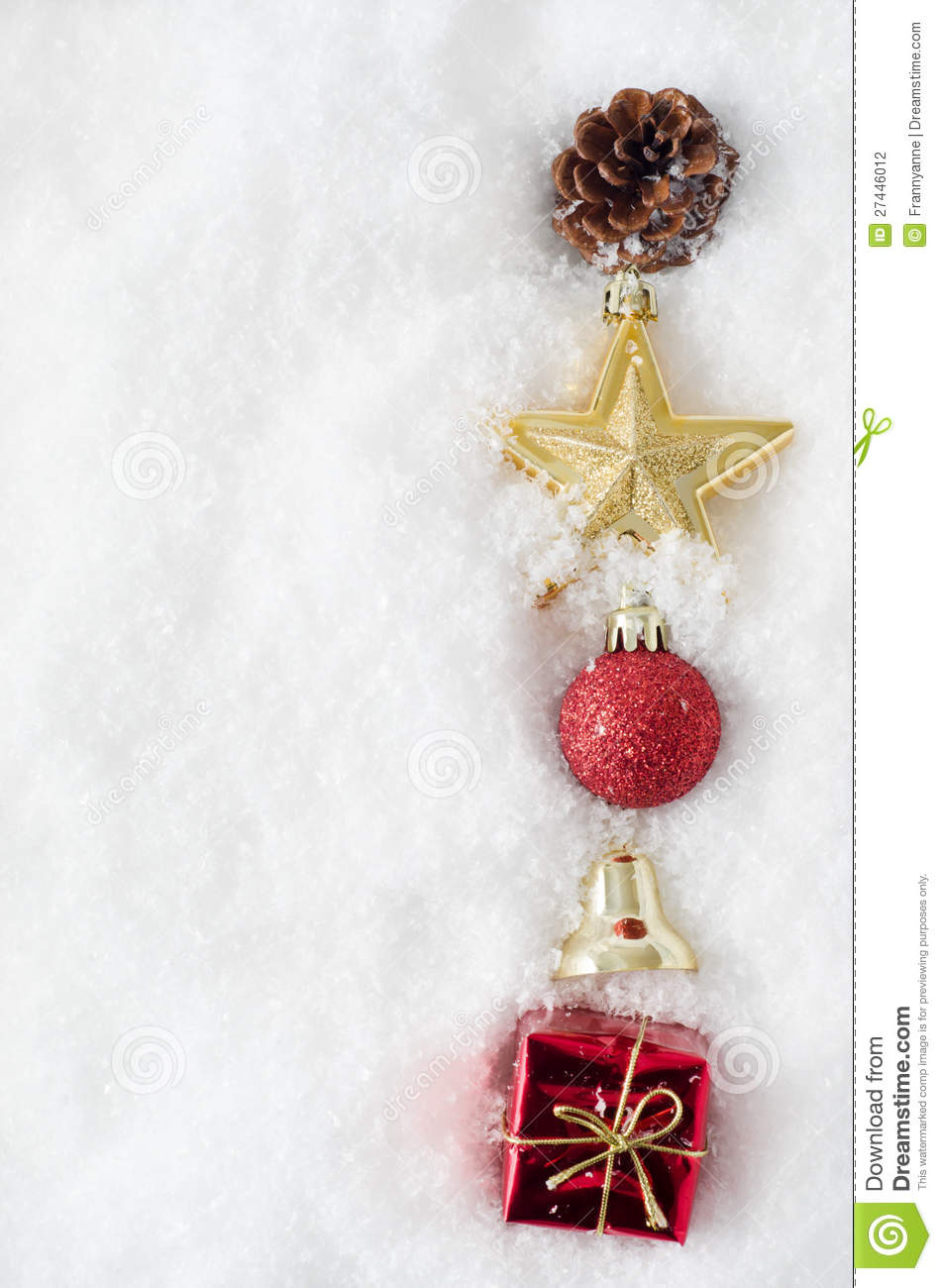 Christmas ornament border in snow stock photo image