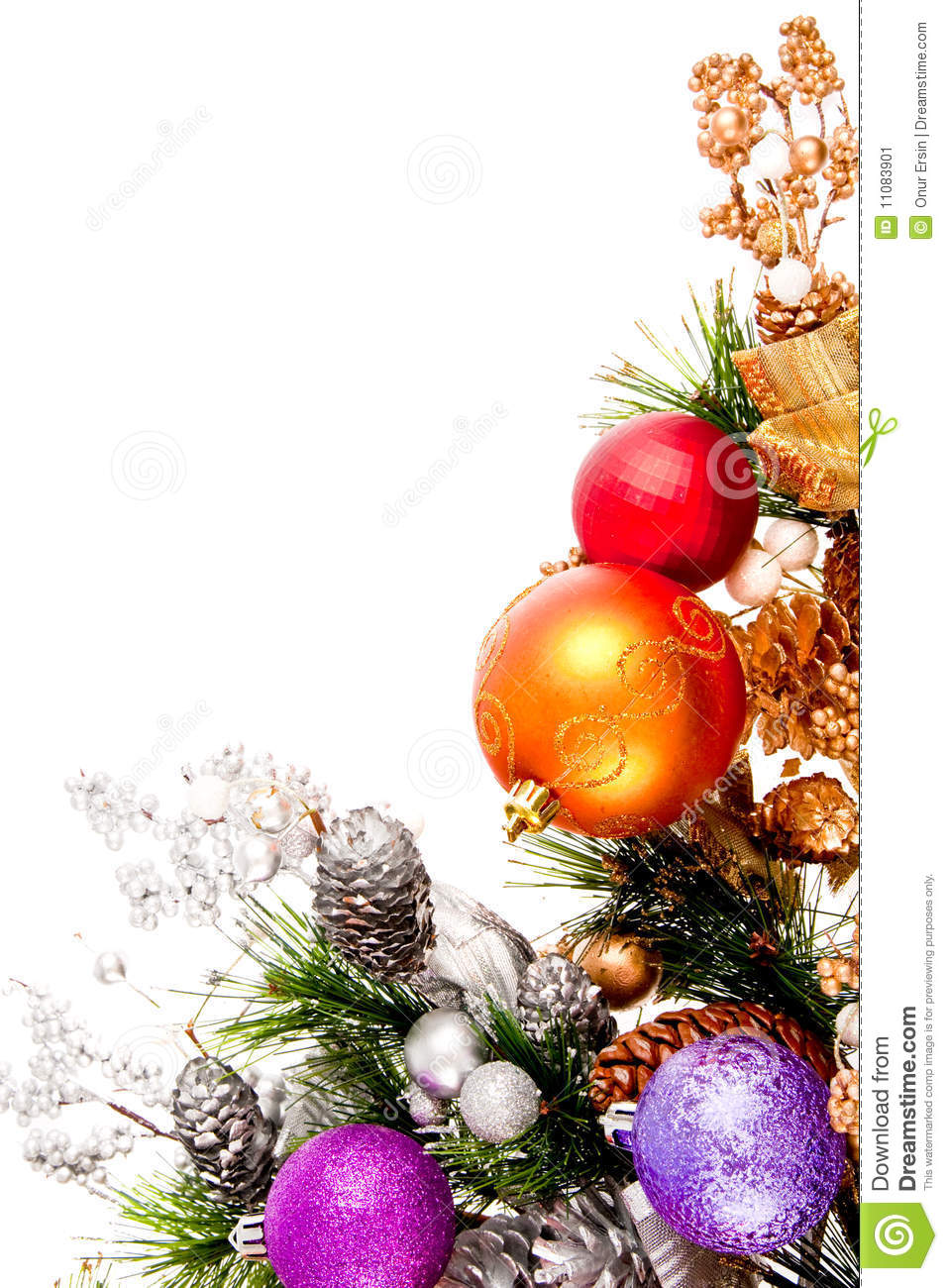Christmas ornament corner decoration series stock image