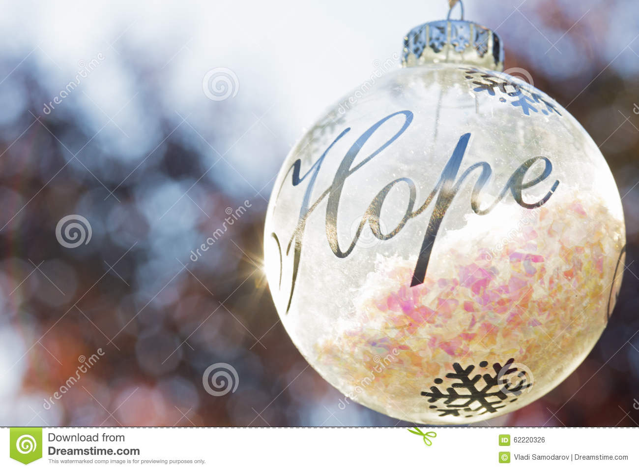 Christmas Ornament Decoration With The Word Hope Stock Photo - Image ...