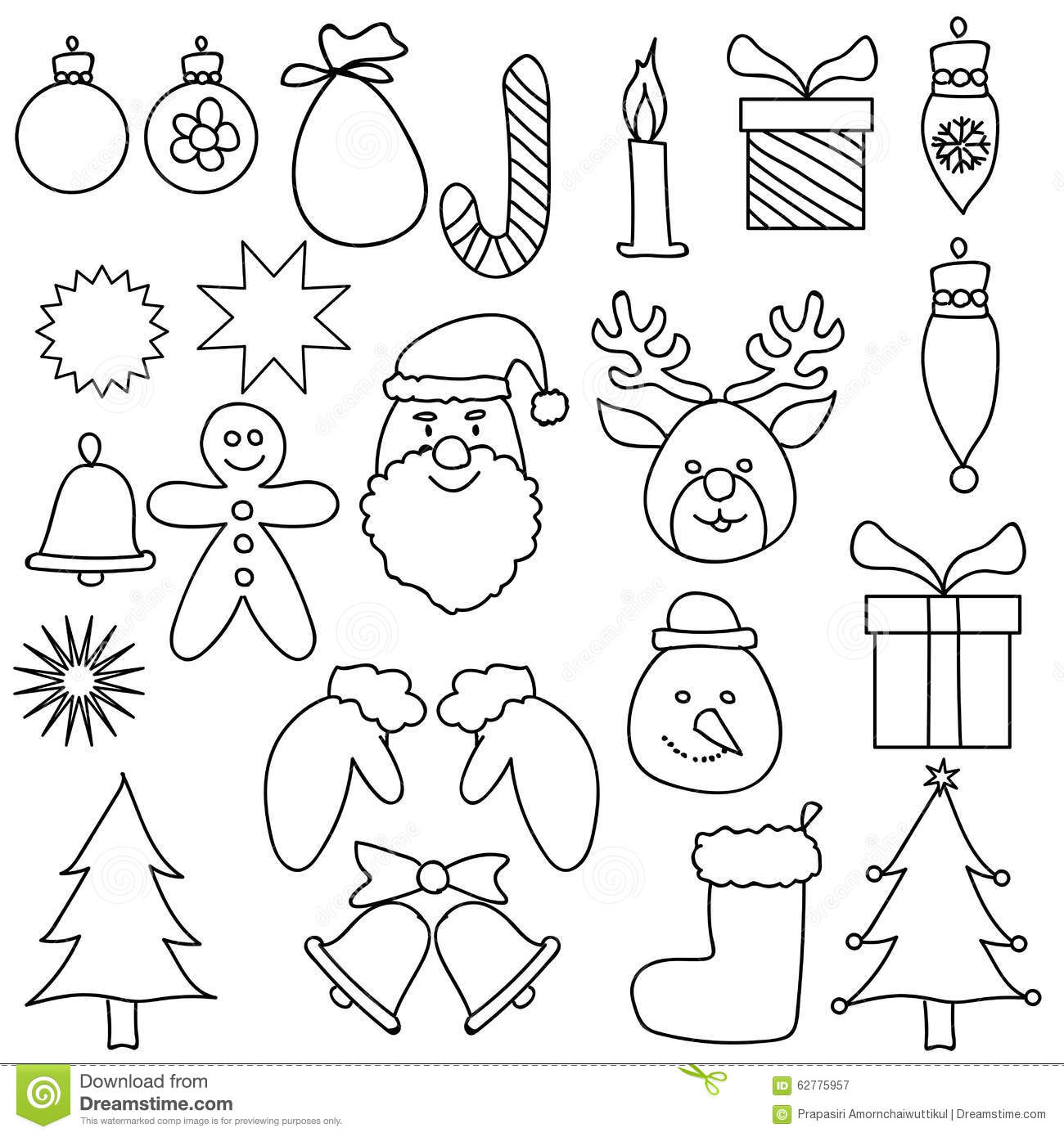 Christmas ornament black and white - Christmas Ornament Drawing Set Black White Royalty Free Stock Photography