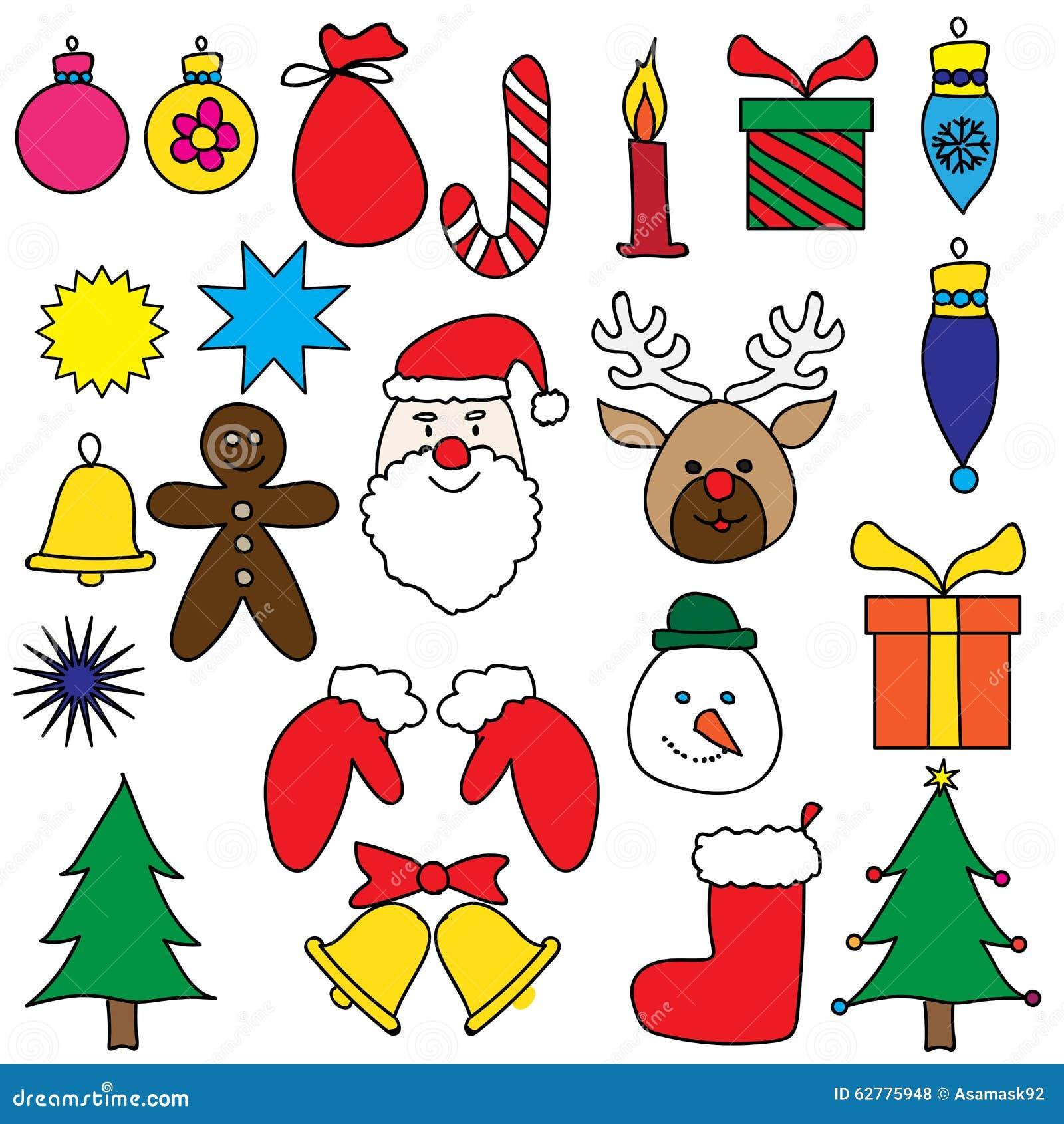 Christmas Ornament Drawing Set Colorful Stock Illustration ...