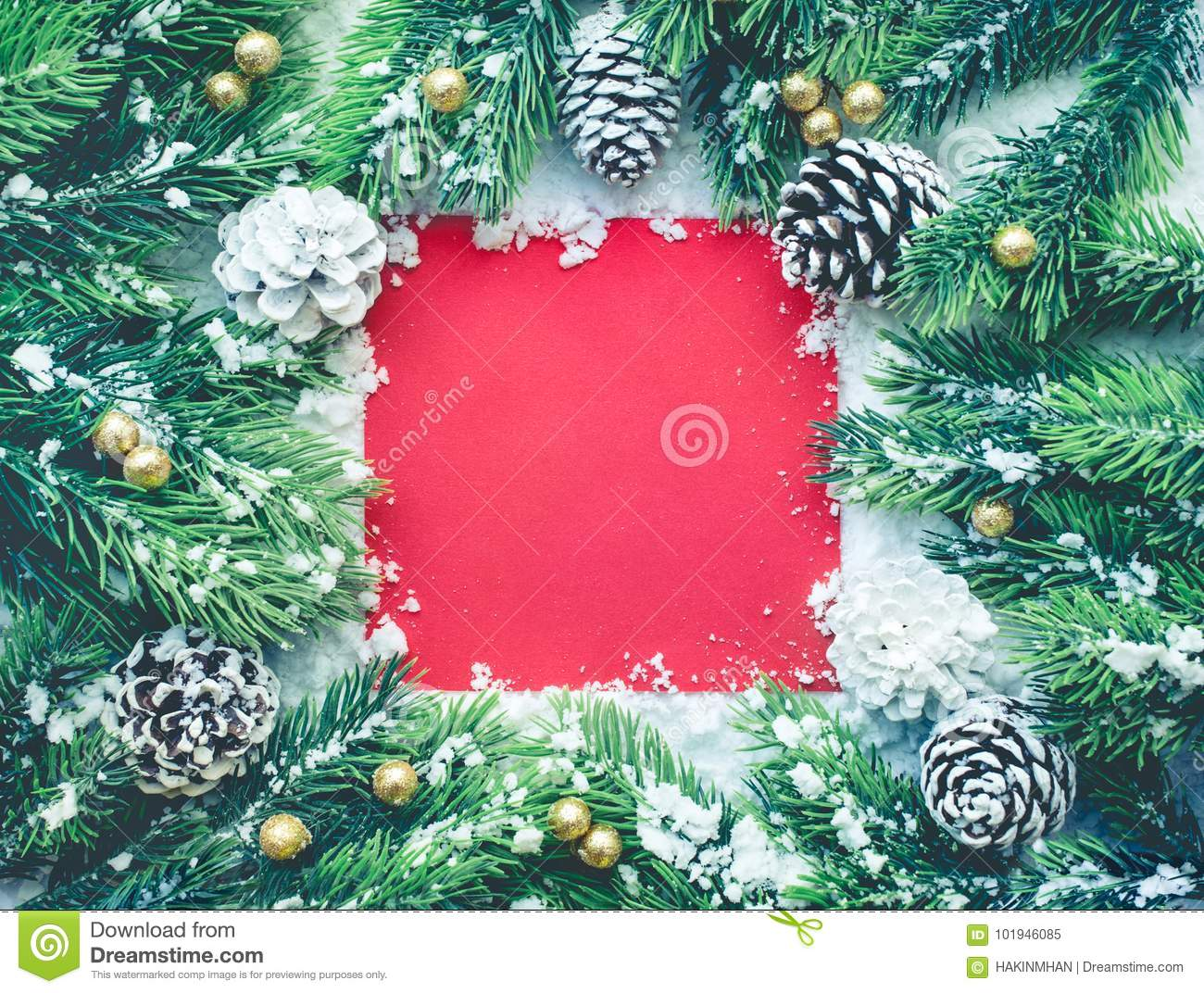 Christmas ornament with fir tree,pine branch,snow and red card background