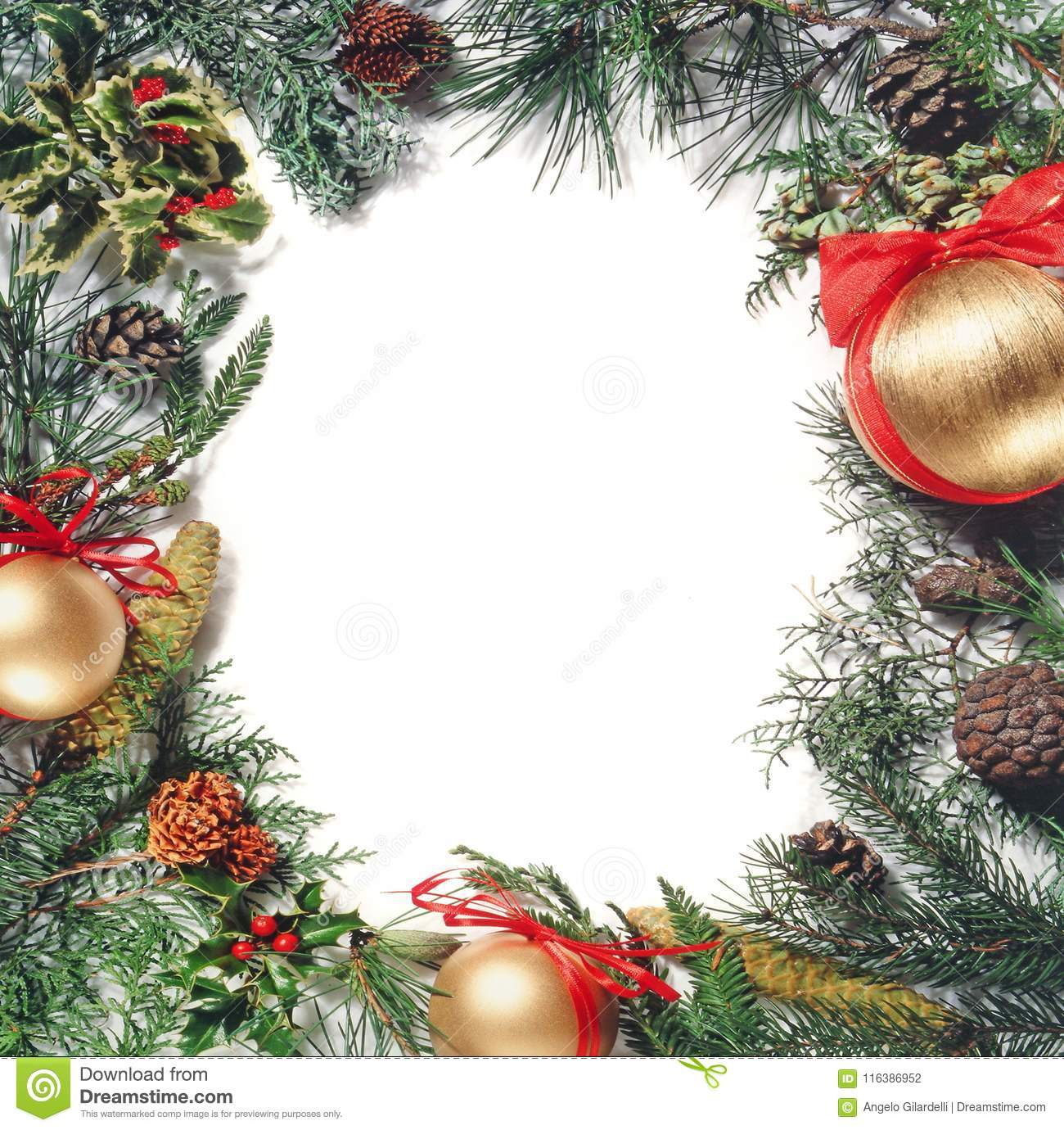 Christmas Ornament Forming A Frame Stock Photo Image Of Golden