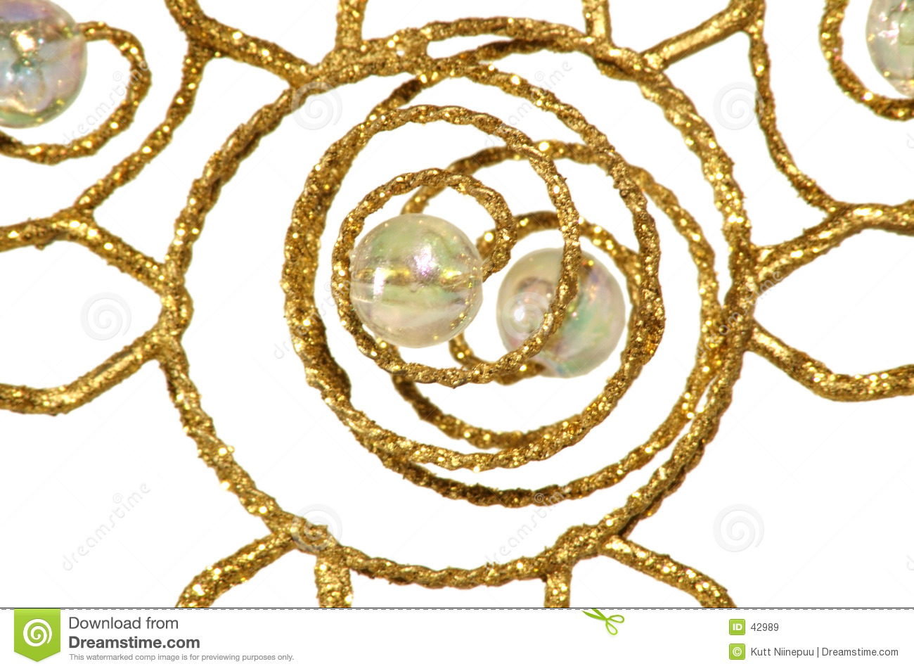 Christmas ornament - Golden abstract, on white